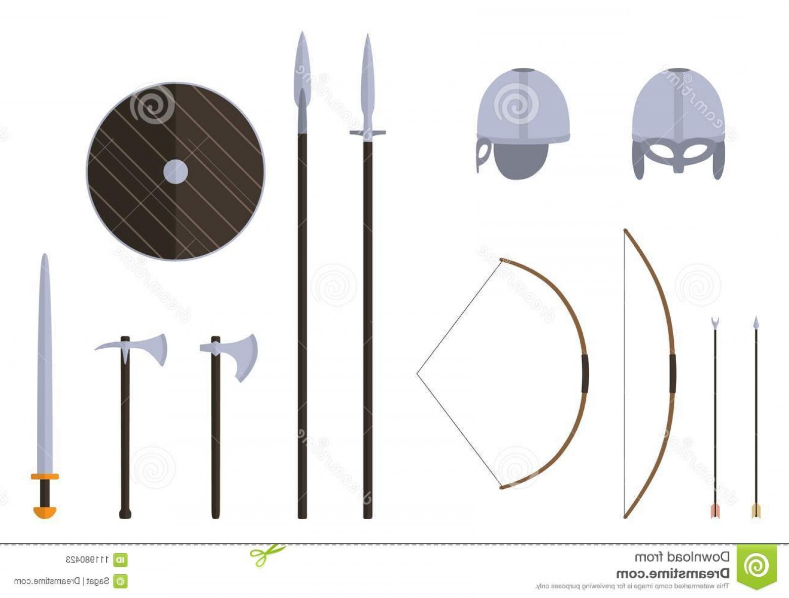 Pike Spear Vector: Viking Weapons Armors Set Viking Warrior Equipment Viking Weapons Armors Set Viking Warrior Equipment Sword Axe Spear Pike Image