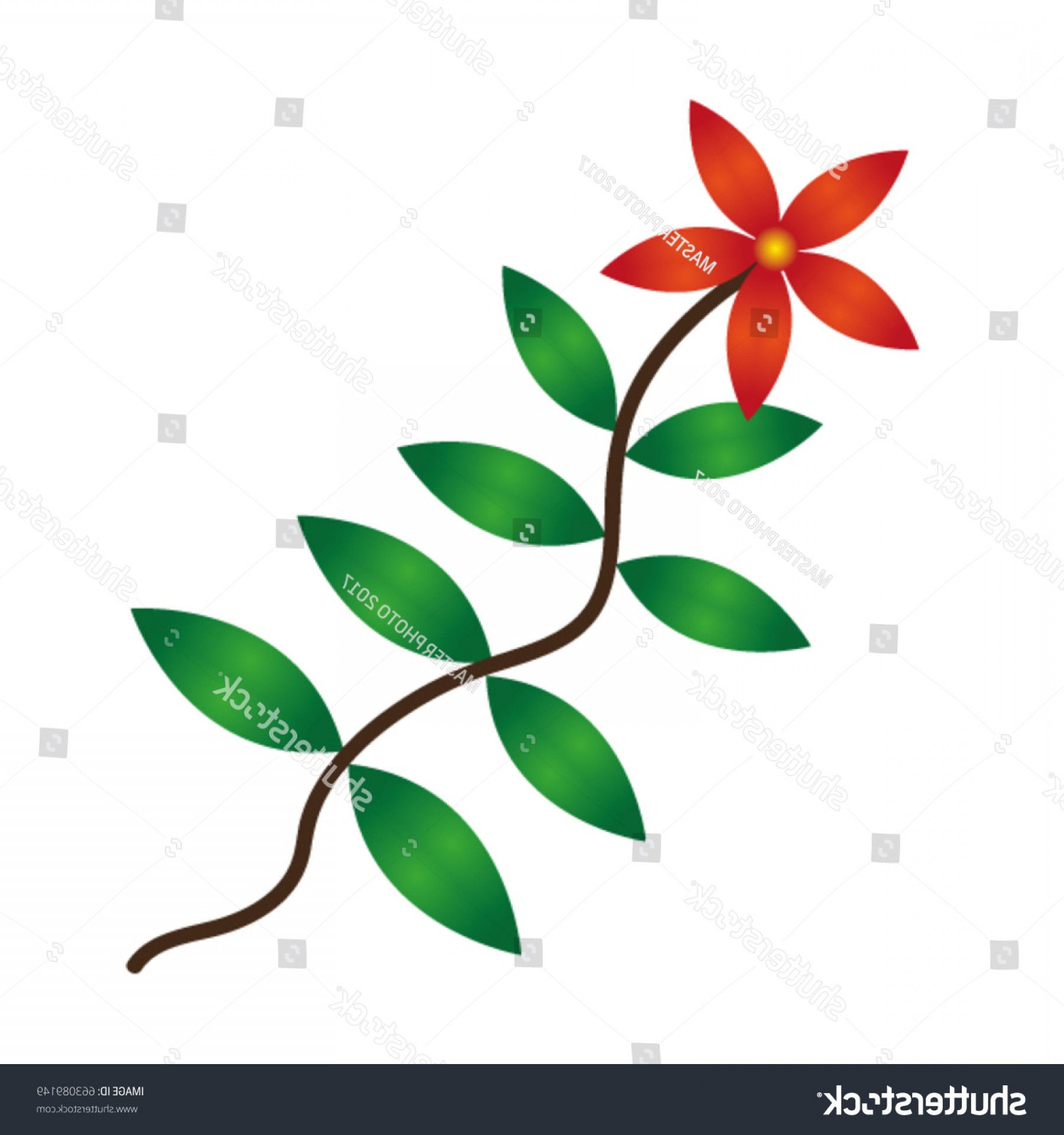 Vector Vine Tree: Vine Red Flower Green Leaves Vector