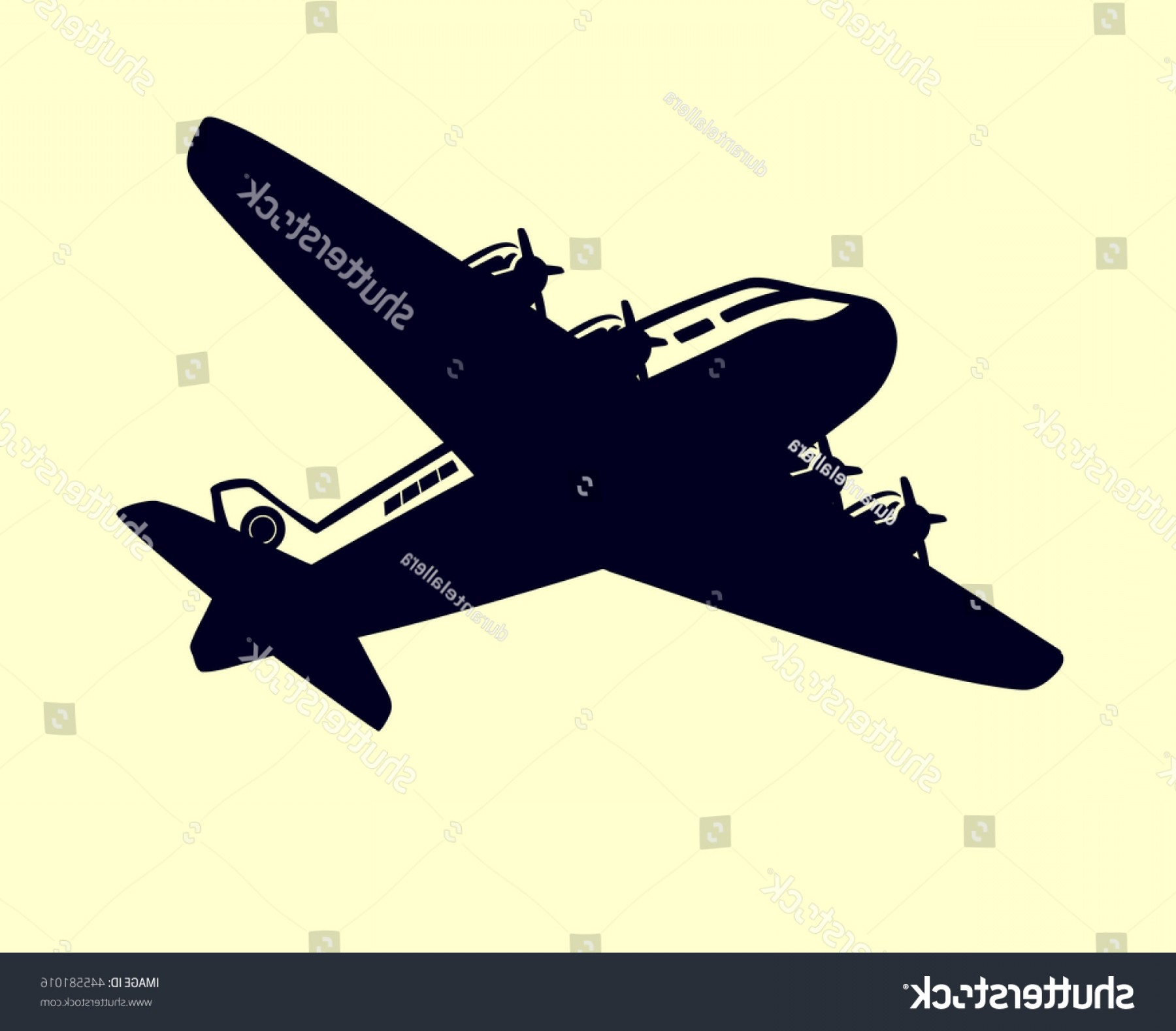 Old School Airplane Fighter Silhouette Vector: Vintage Airplane Vector Clip Art Simple