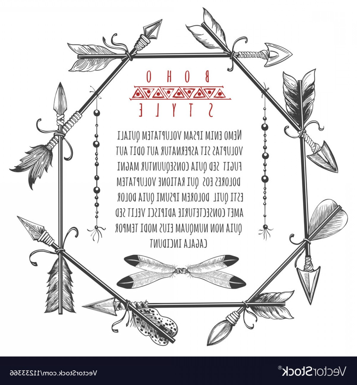 Arrow Border Frame Vector: Vintage Arrows And Feathers Frame Vector