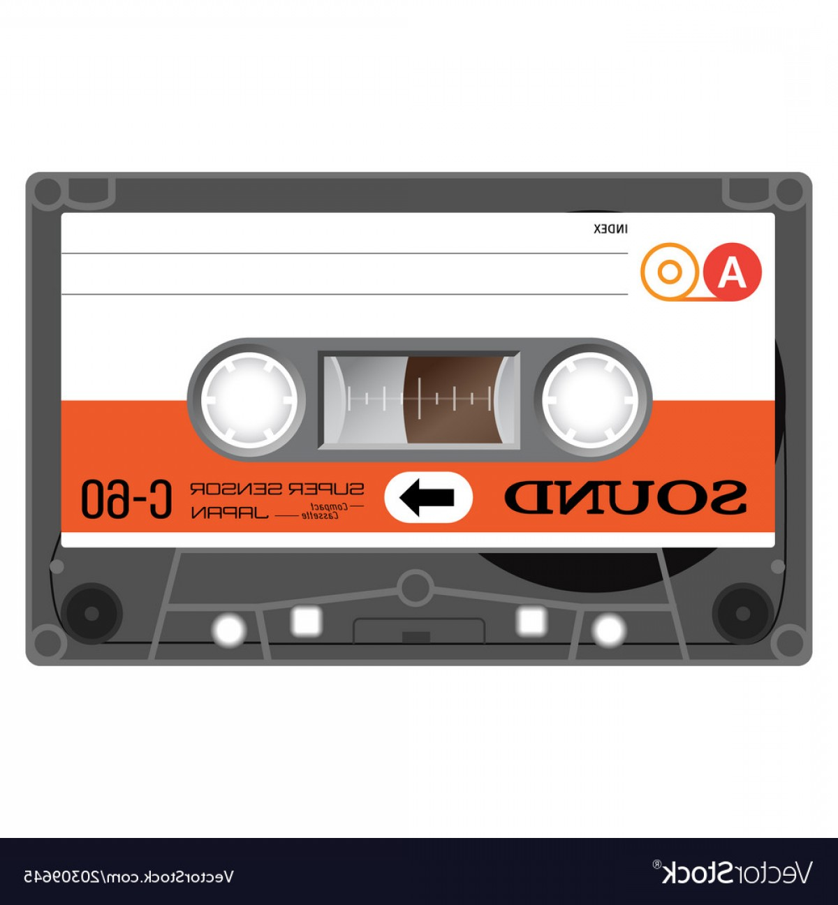 Audio Cassette Vector: Vintage Audio Cassette Tape Vector