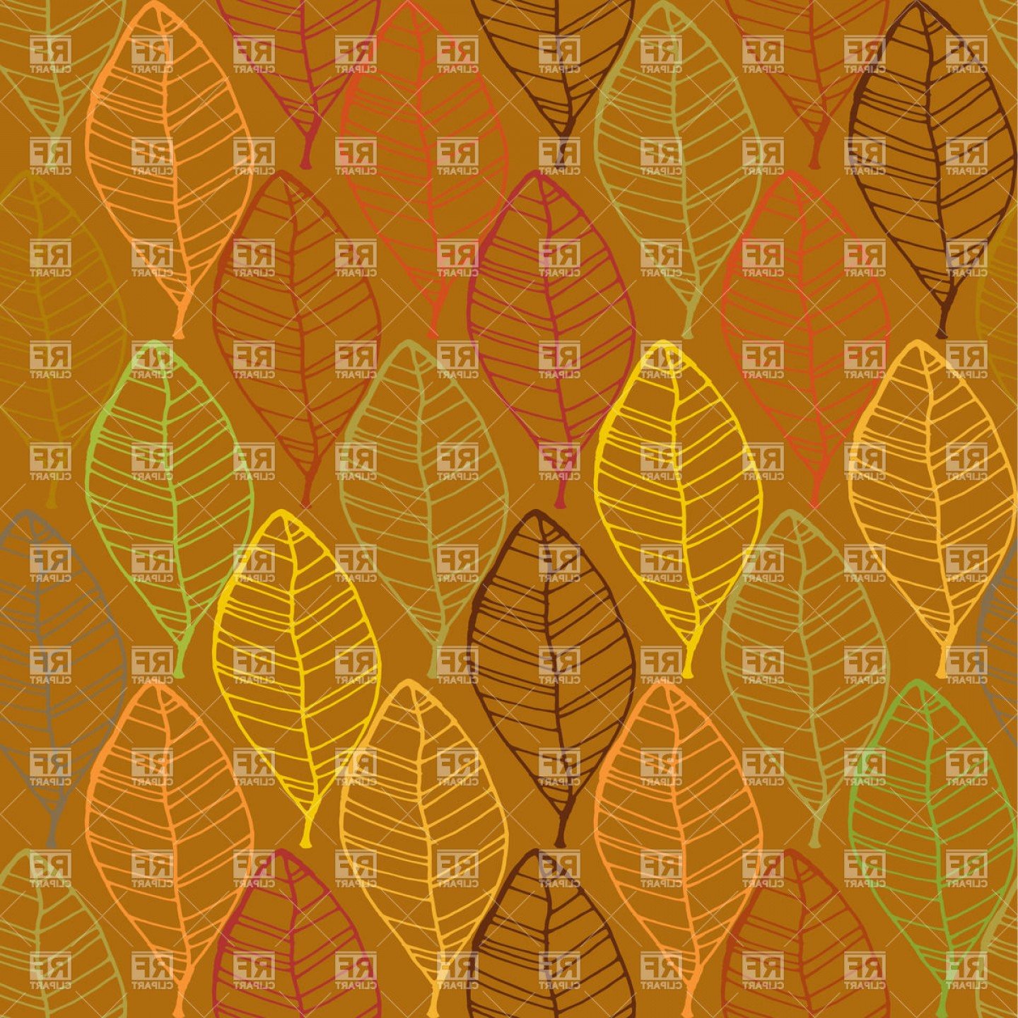 Autumn Seamless Vector: Vintage Autumn Seamless Pattern With Leaves Vector Clipart