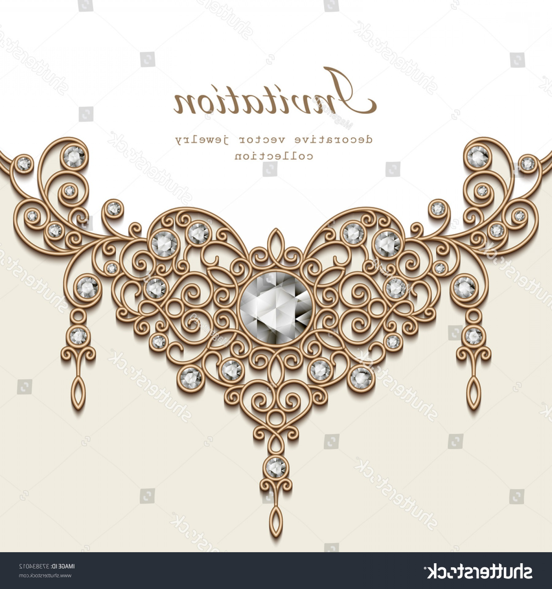 Vector Filigree Heart: Vintage Background Elegant Jewelry Gold Decoration