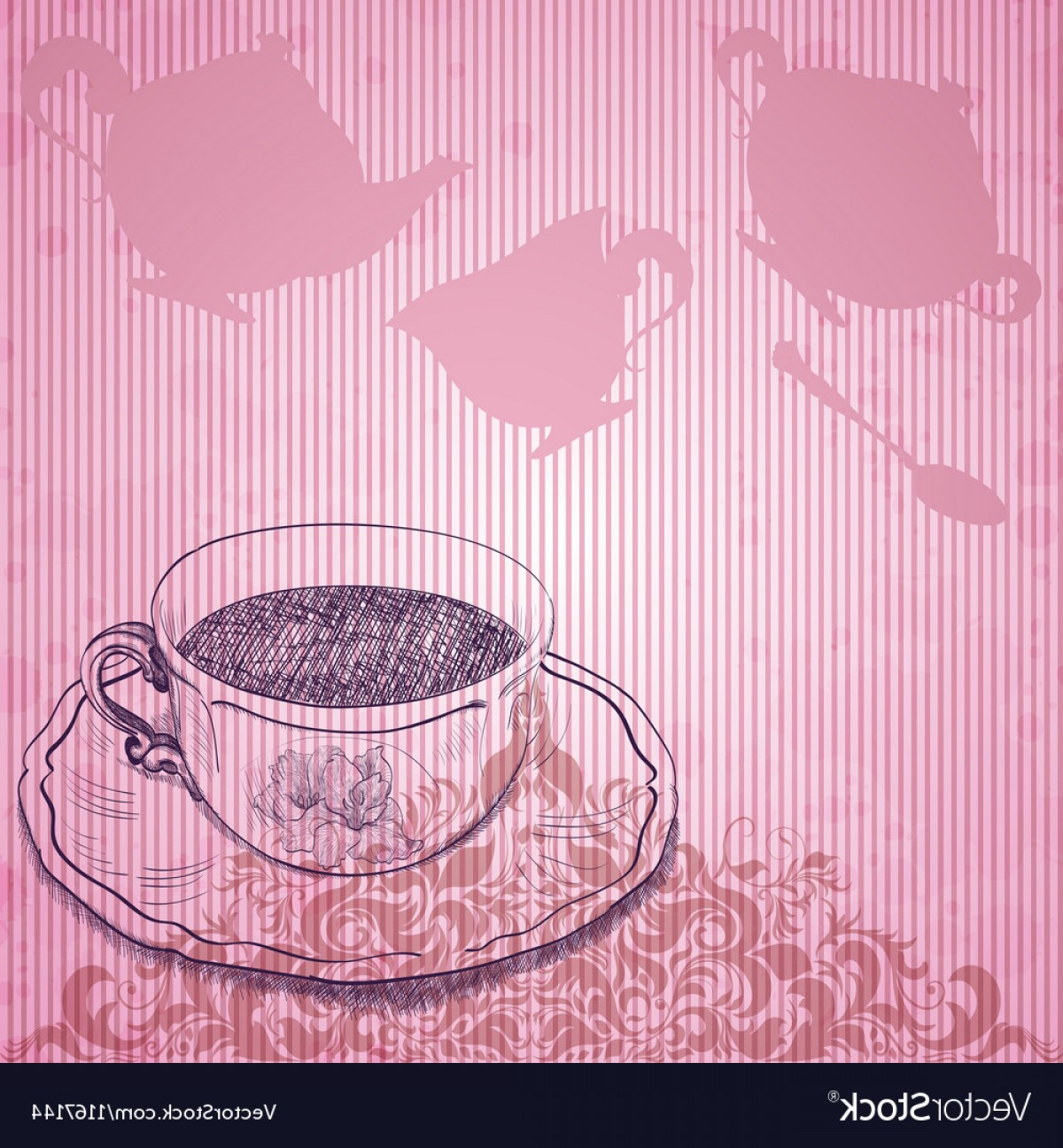 Vintage Tea Cup Vector: Vintage Background With Tea Cup Vector