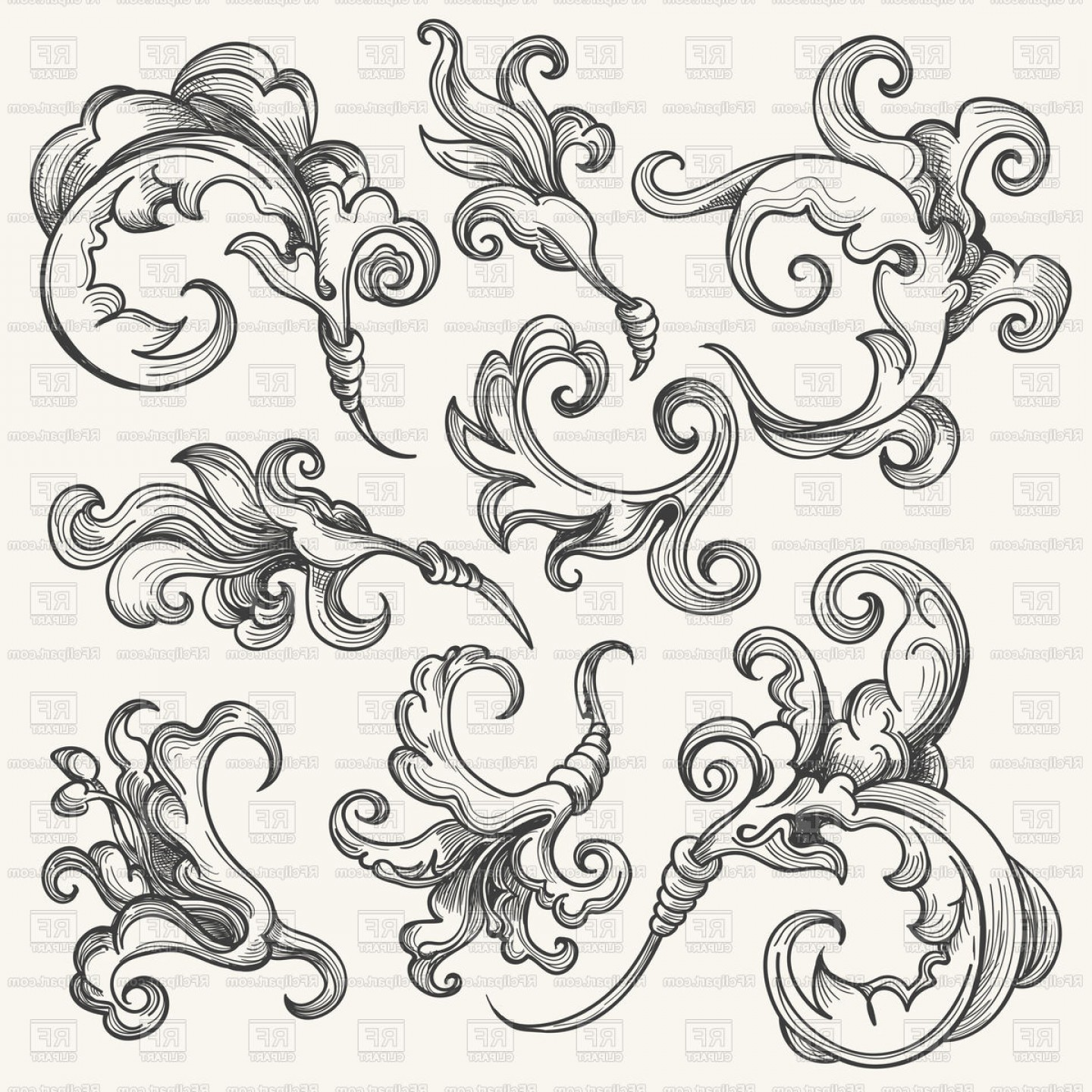 Baroque Vector Clip Art: Vintage Baroque Floral Ornament Vector Clipart