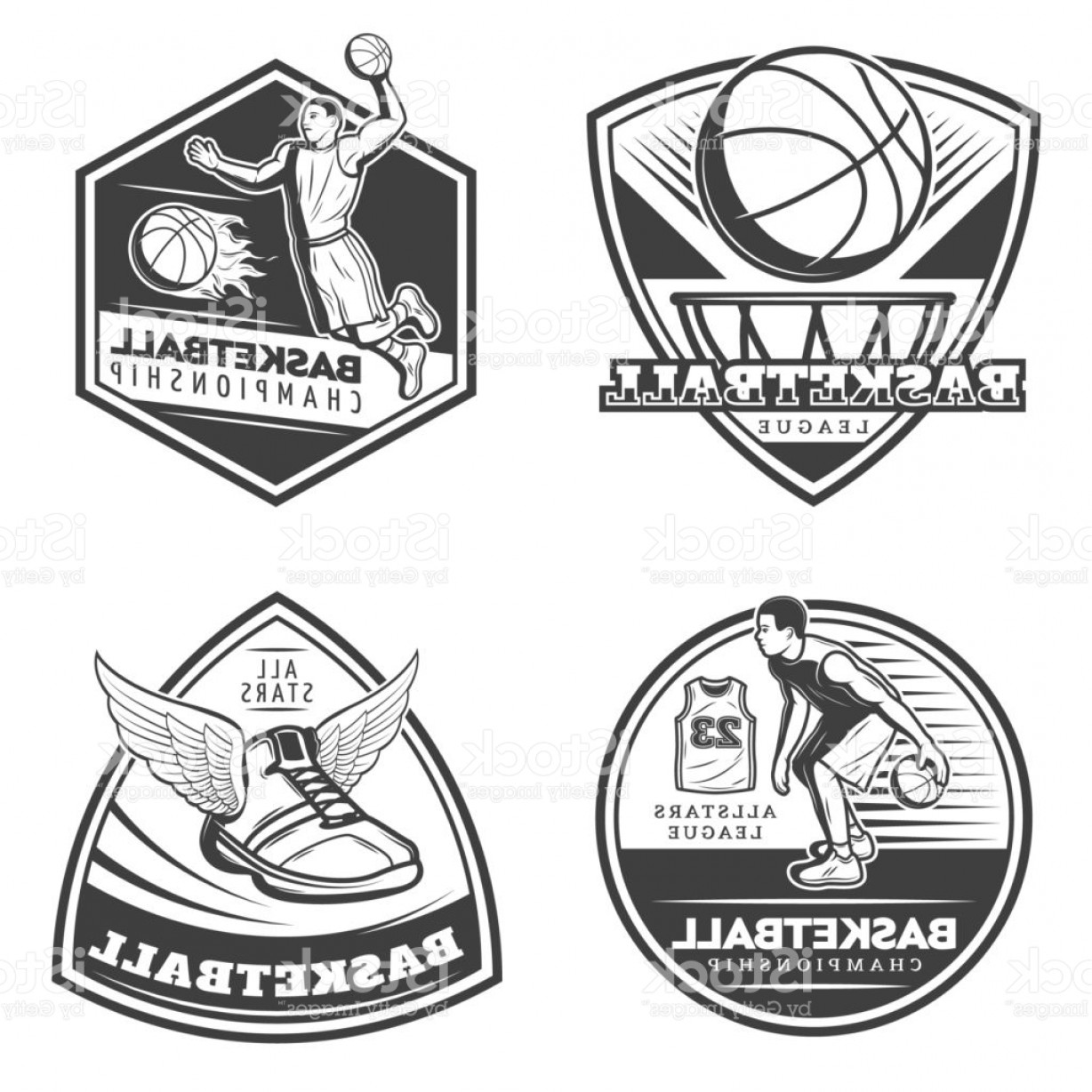 Vintage Basketball Vector: Vintage Basketball Emblems Set Gm
