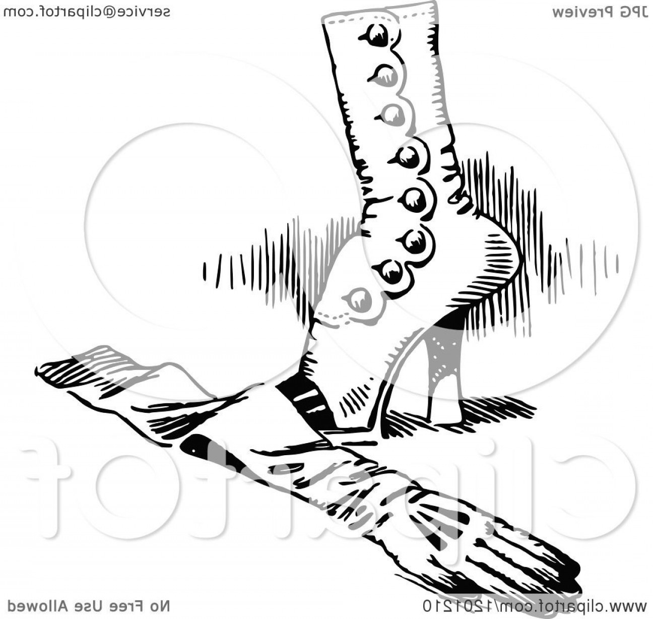 White Glove Service Vector: Vintage Black And White Feminine Boot And Glove