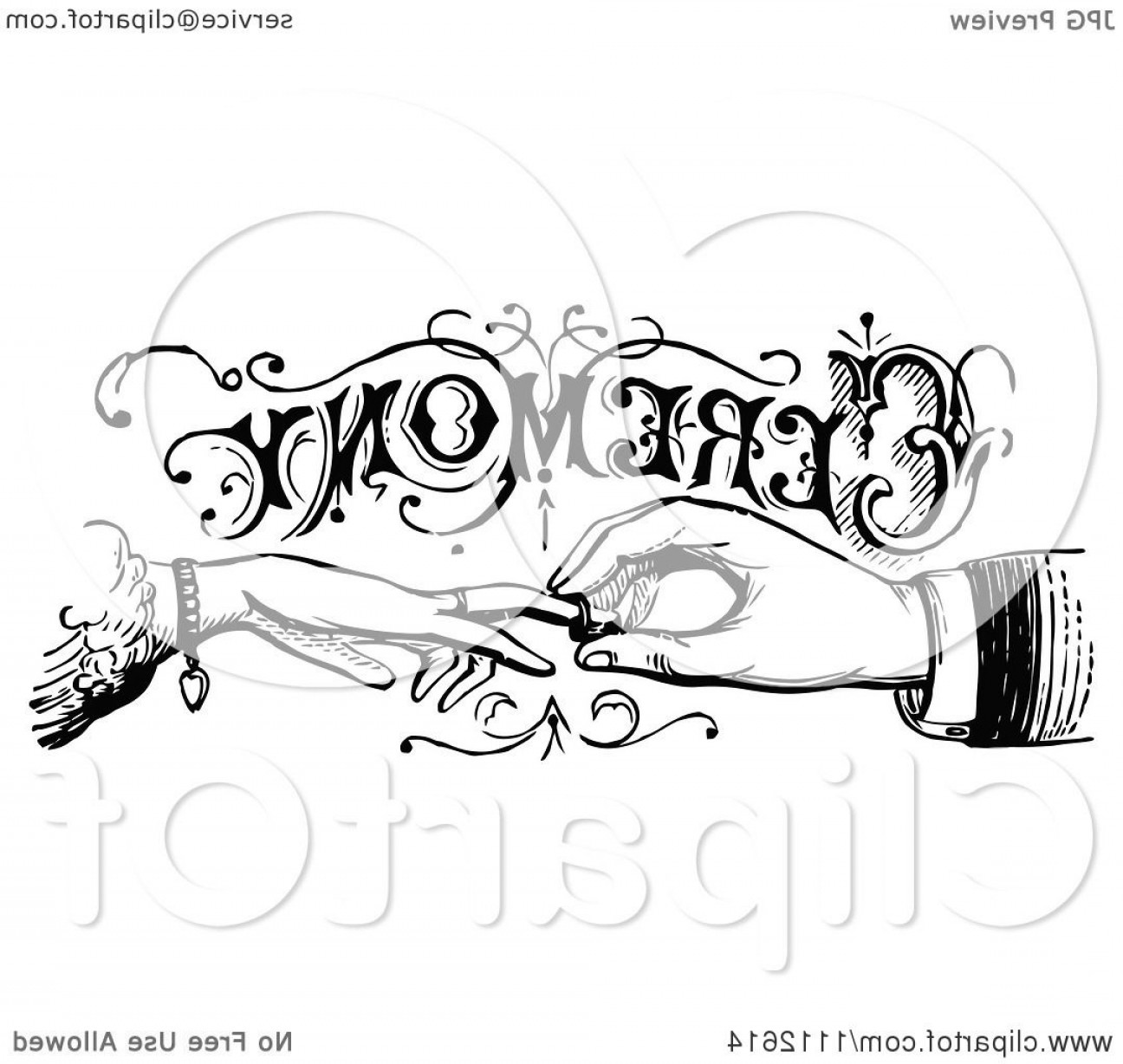 Hand With Ring Silhouette Vector: Vintage Black And White Wedding Ceremony Sign With Hands Exchanging Rings