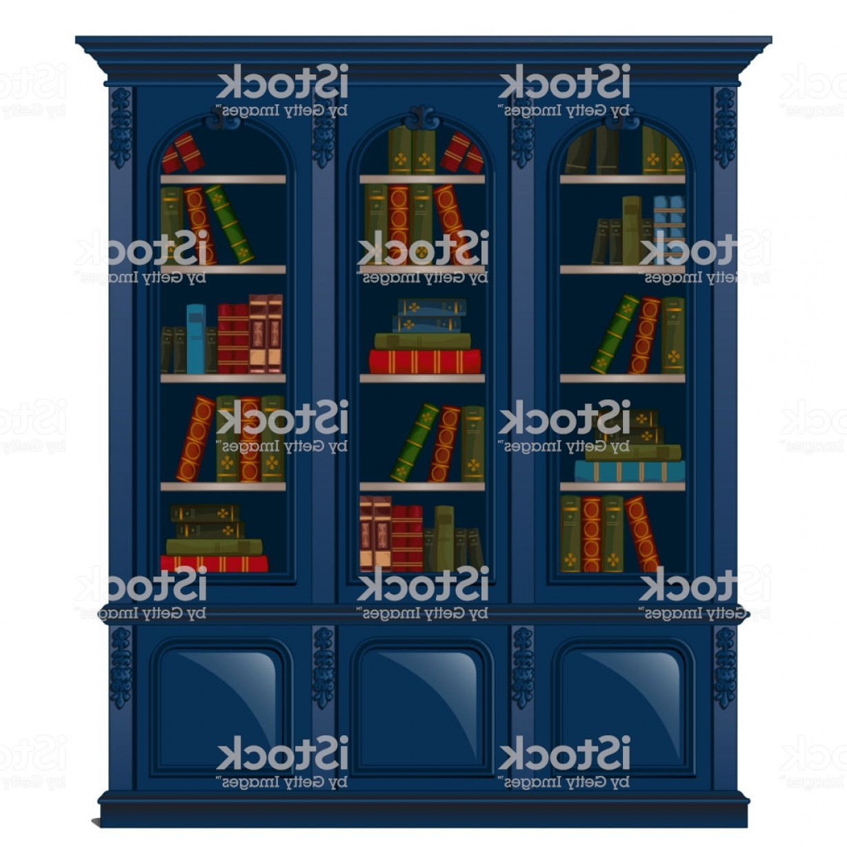 Vector Vintage Shelf: Vintage Bookcase Blue Filled With Books Library Furniture Isolated On White Gm