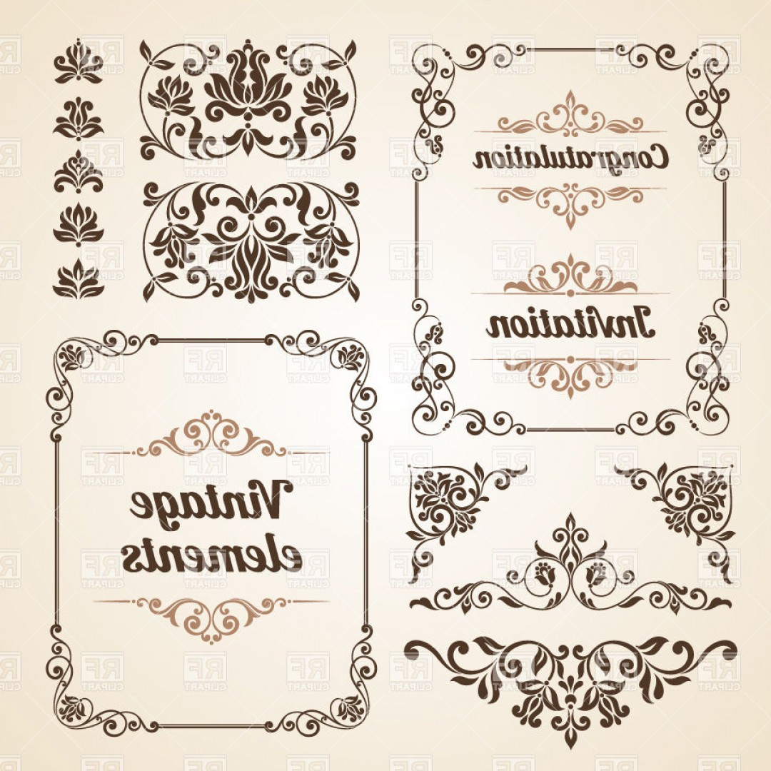Free EPS Vector Art: Vintage Borders Ornate Classic Frames And Curly Vignettes Vector Clipart