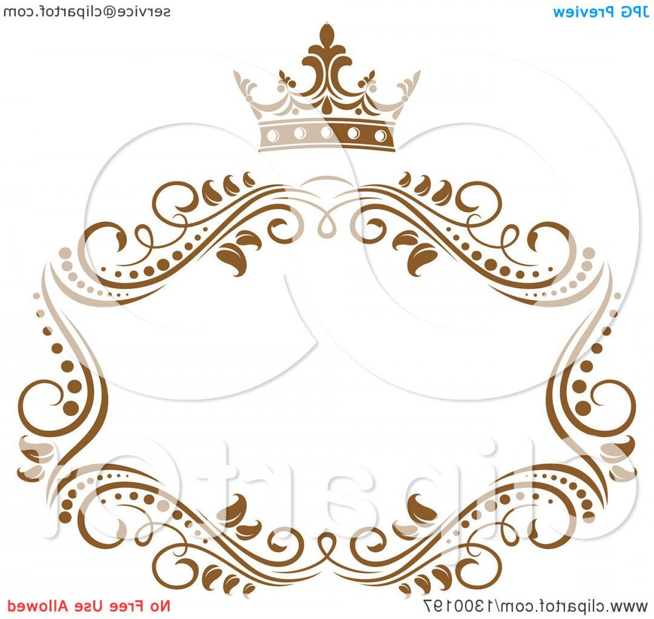 Gold Wedding Swirl Vector: Vintage Brown Swirl Floral Wedding Frame With A Crown