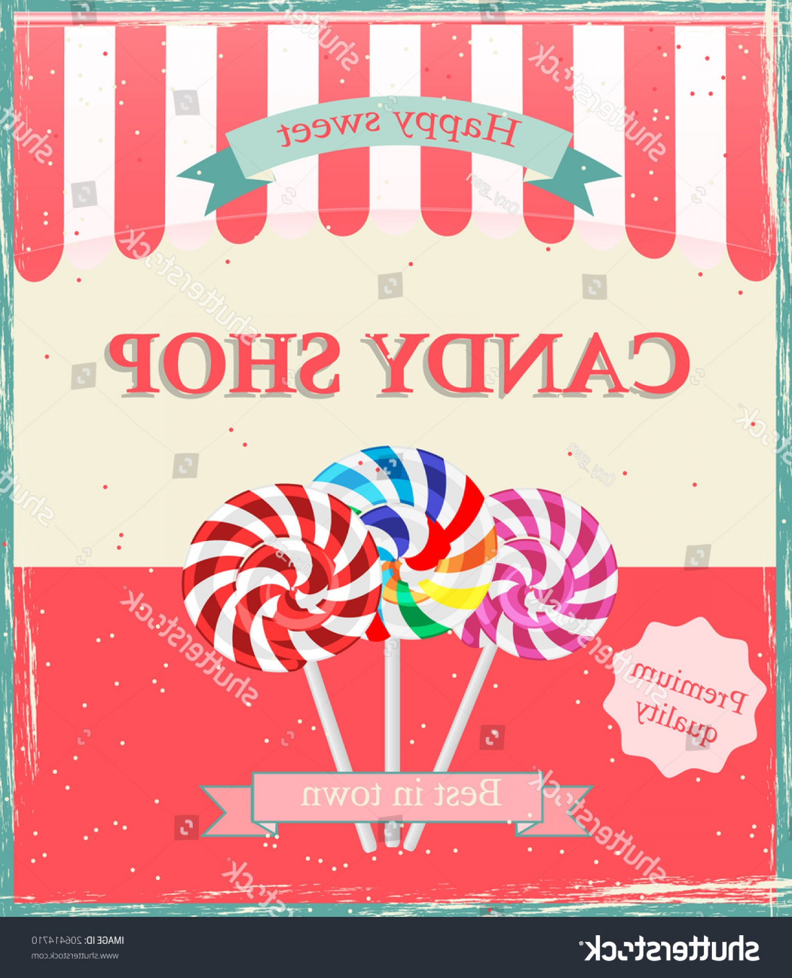 Candy Shop Vector: Vintage Candy Shop Poster Template Vector