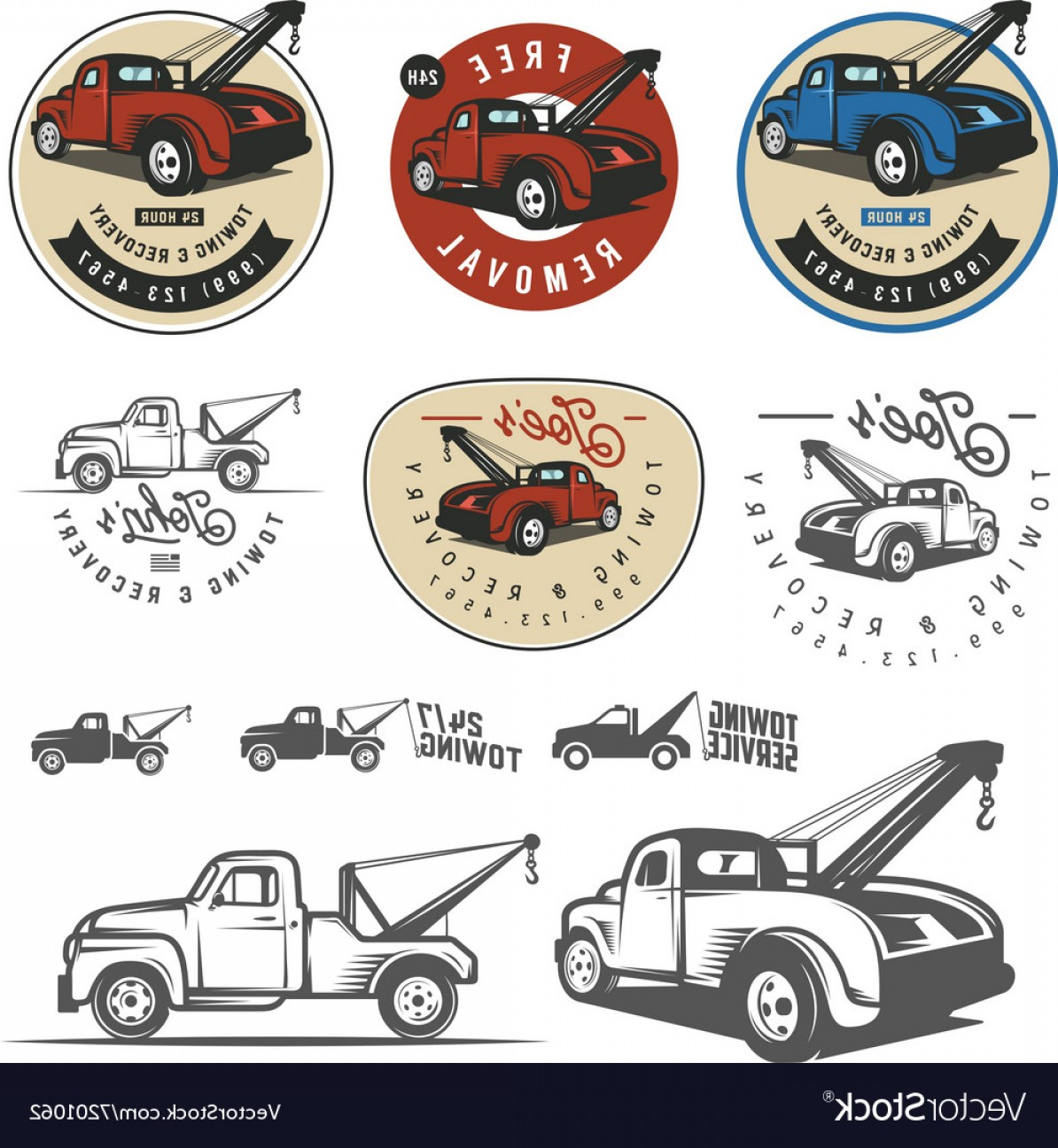 Car Tow Hook Vector: Vintage Car Tow Truck Emblems And Logos Vector