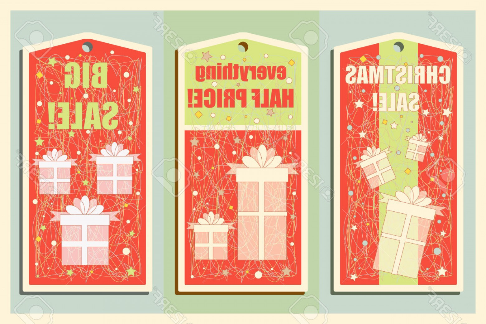 Vintage Xmas Sale Tag Vector: Vintage Christmas And Happy New Year Holiday Set Of Sale Tags Christmas Sale Design And Banners Vector Illustration