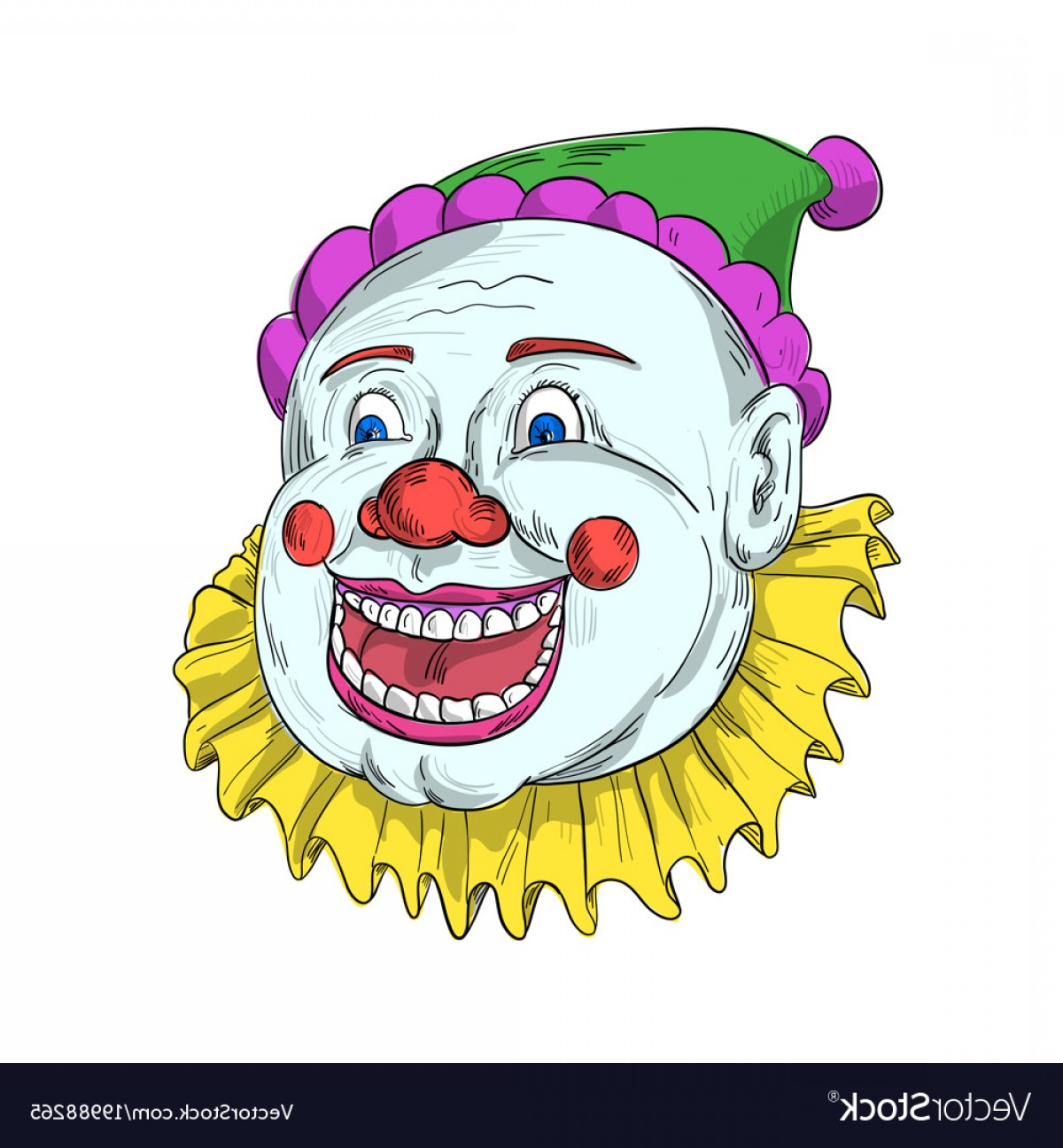 Joker Vector Graphics: Vintage Circus Clown Smiling Drawing Vector