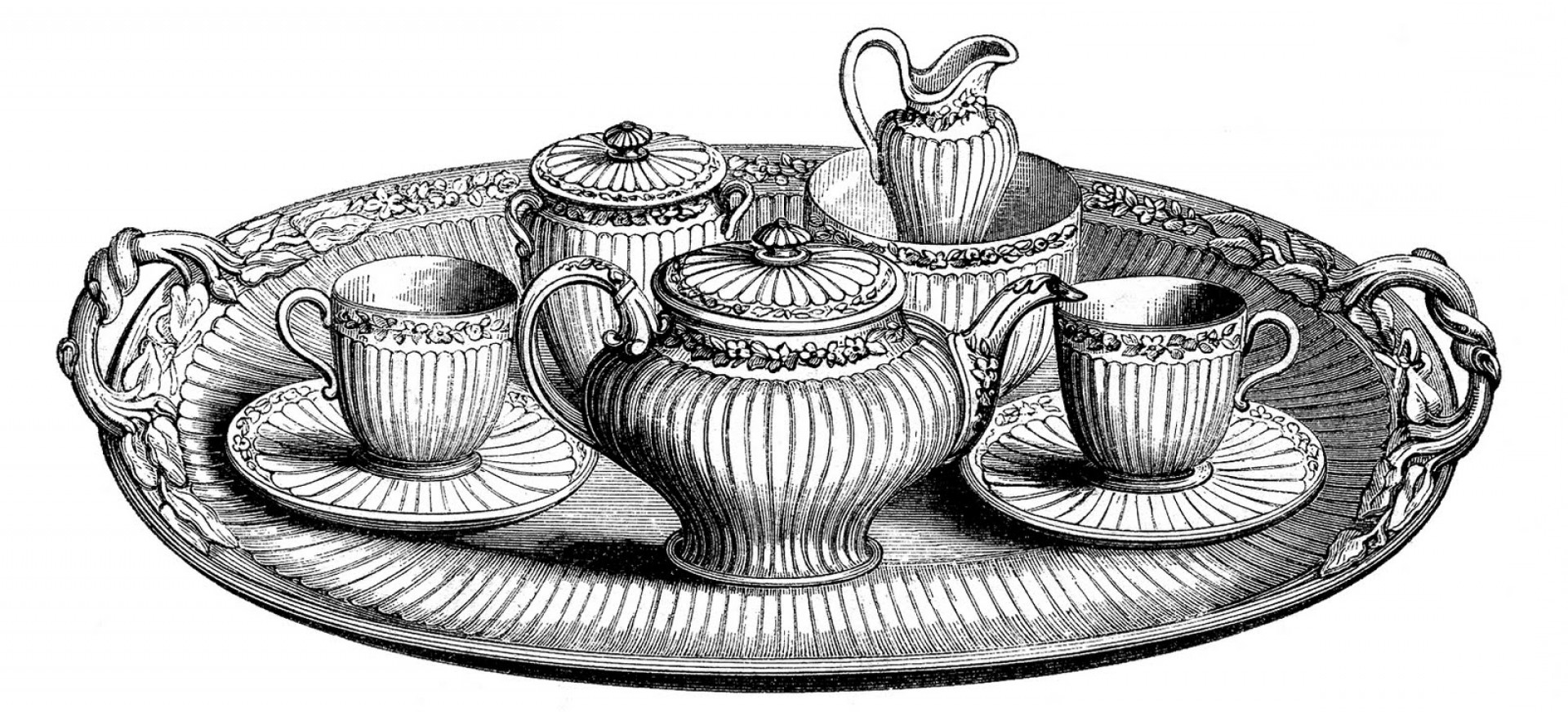 Vintage Tea Cup Vector: Vintage Clip Art Tea Set With Platter