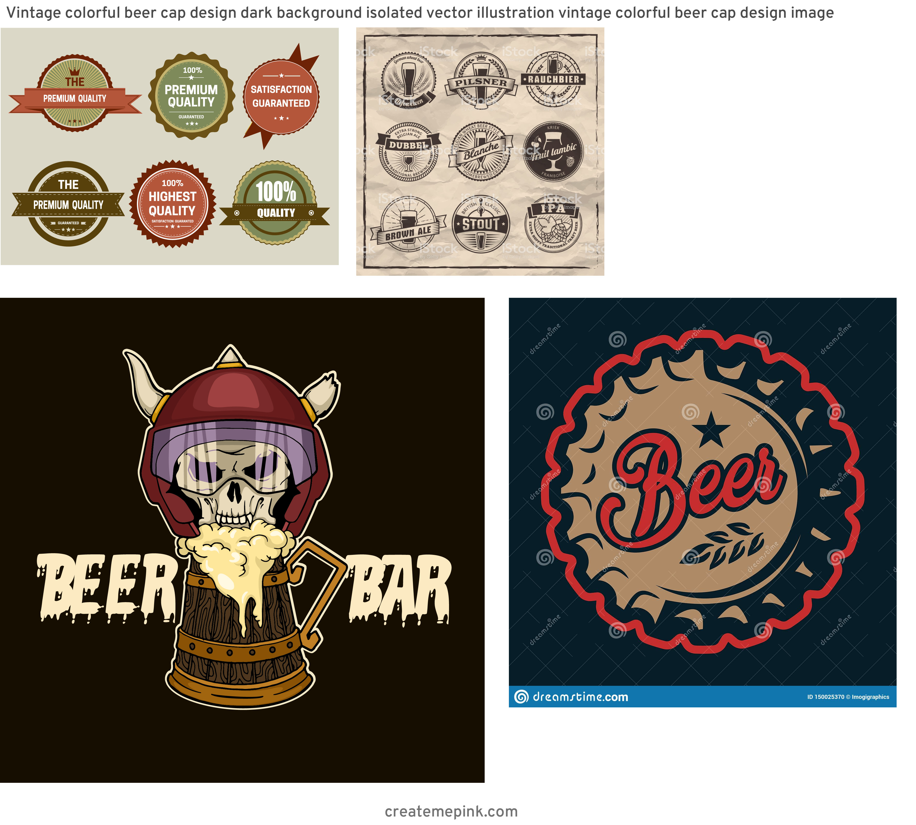 Custom Beer Labels Vector Graphics: Vintage Colorful Beer Cap Design Dark Background Isolated Vector Illustration Vintage Colorful Beer Cap Design Image