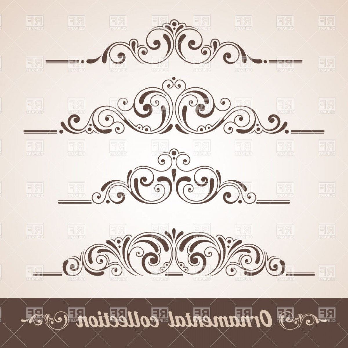 Vector Ornament Sets: Vintage Curly Ornaments Collection Vector Clipart
