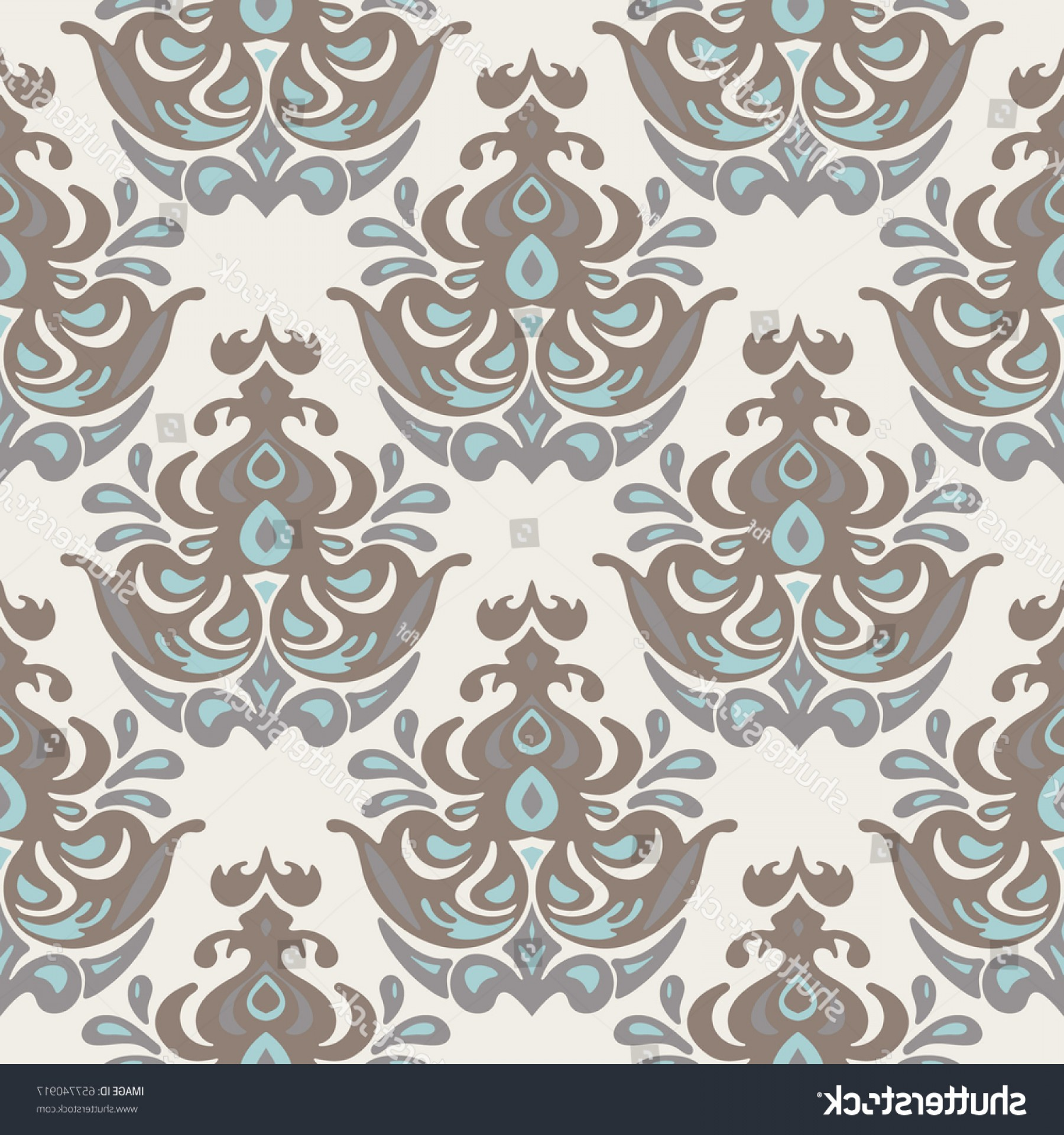 Aqua Victorian Medallions Vectors: Vintage Damask Seamless Pattern Victorian Style