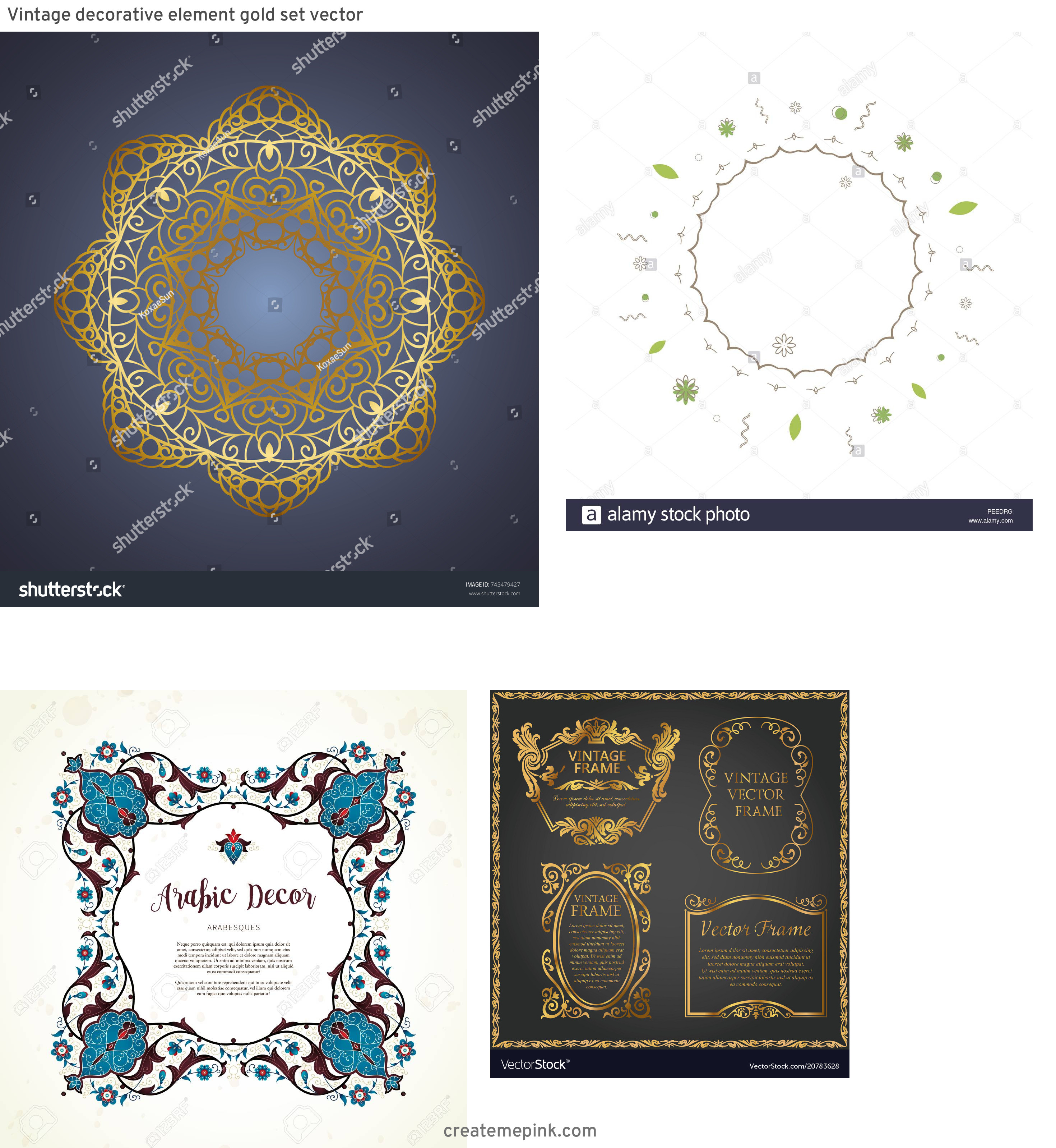 Elements Of Vector Vintage Decorative Frame: Vintage Decorative Element Gold Set Vector
