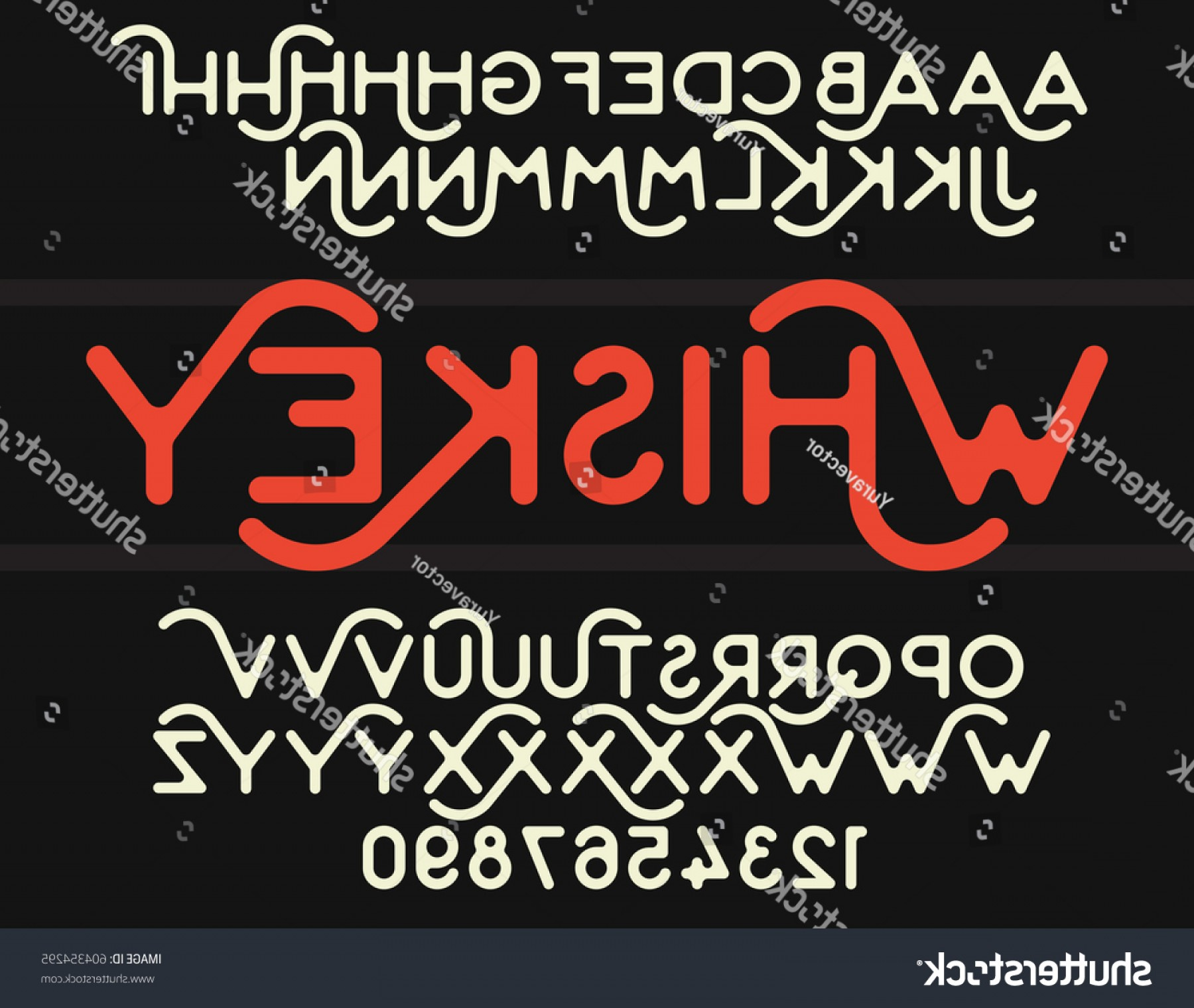Decorative Font Vector Illustration: Vintage Decorative Font Rounded Corners Vector