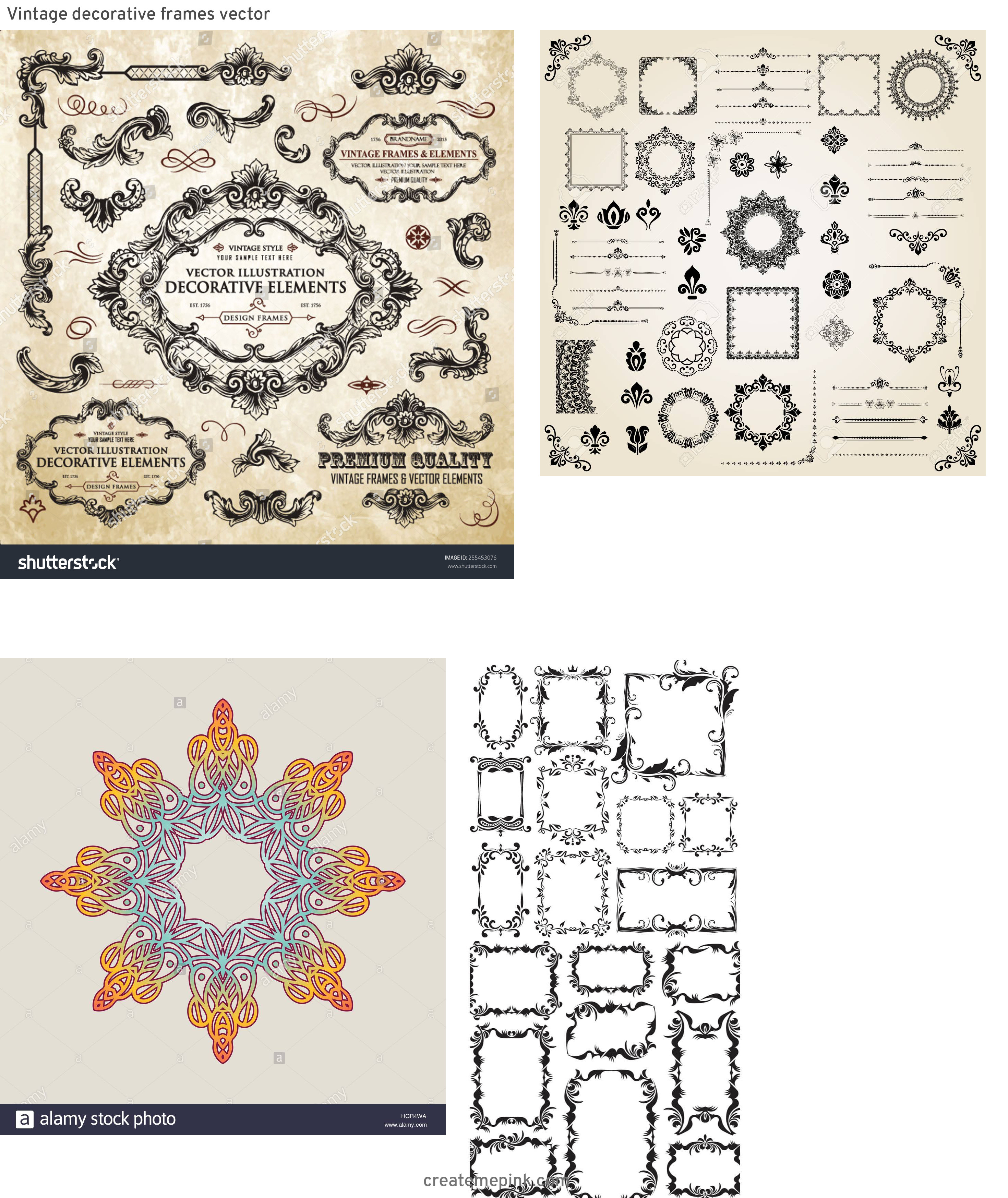 Elements Of Vector Vintage Decorative Frame: Vintage Decorative Frames Vector