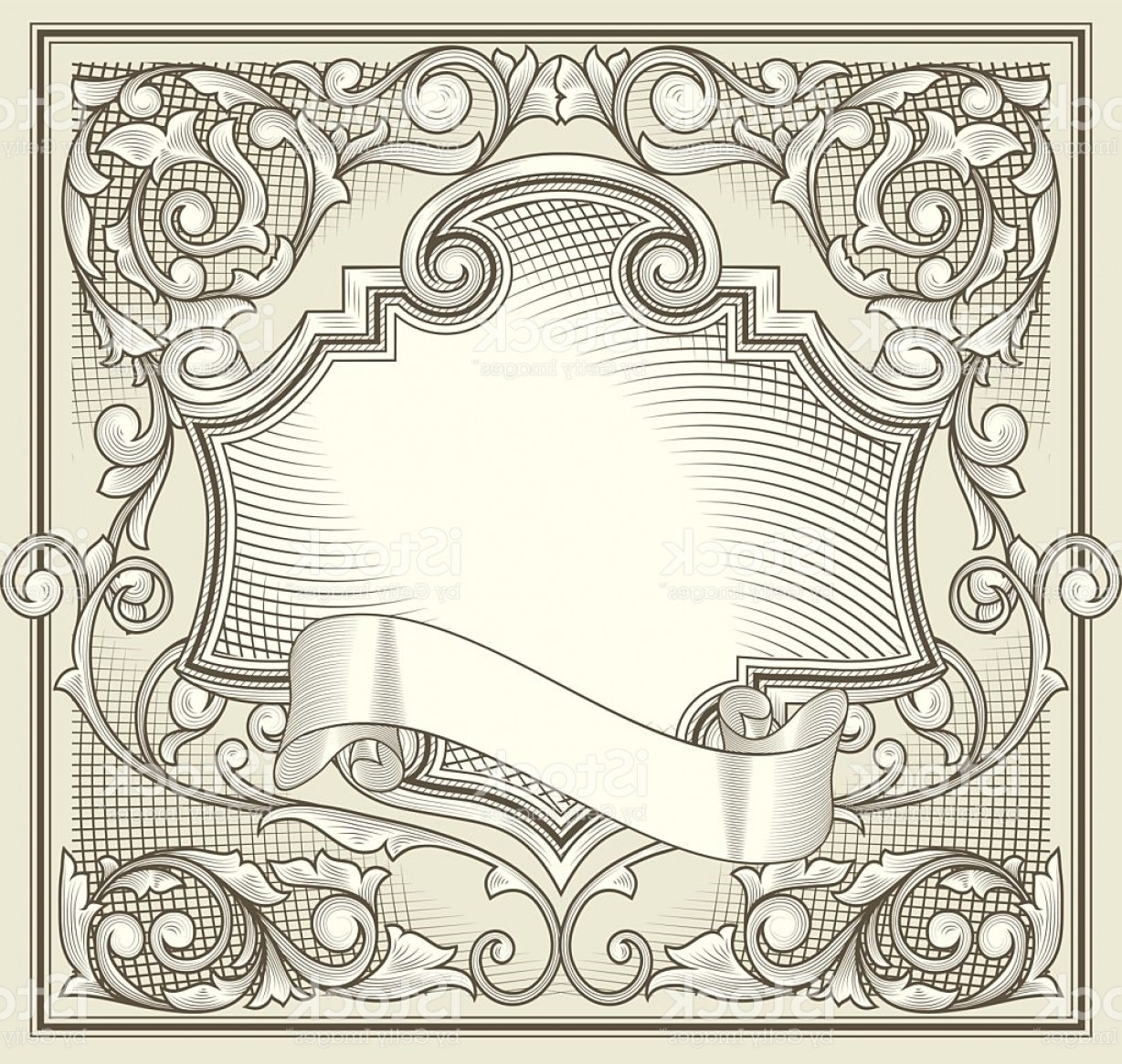 Vector Ornate Vintage Frame Blank: Vintage Decorative Ornate Blank Gm