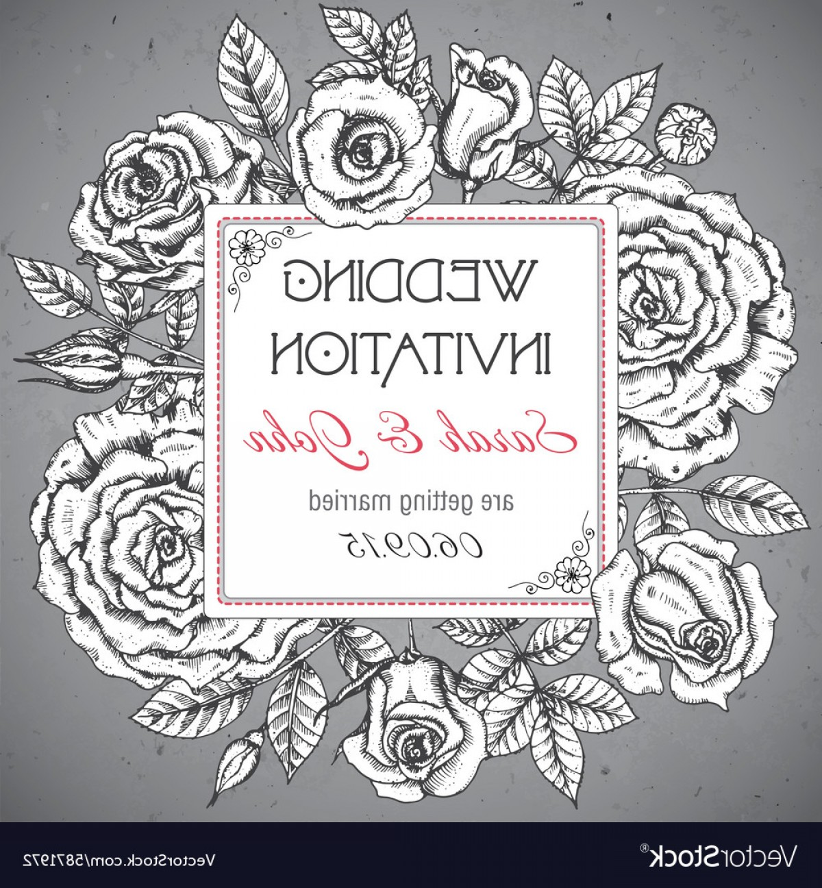 Elegant Wedding Vector Graphics: Vintage Elegant Wedding Invitation With Graphic Vector