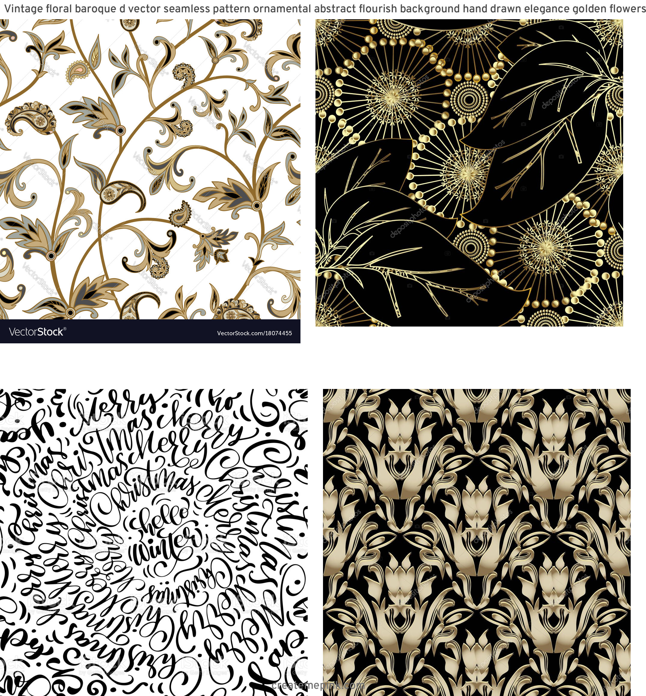 Flourish Vector Pattern: Vintage Floral Baroque D Vector Seamless Pattern Ornamental Abstract Flourish Background Hand Drawn Elegance Golden Flowers Leaves Line Art Tracery Damask Ornaments Ornate Design