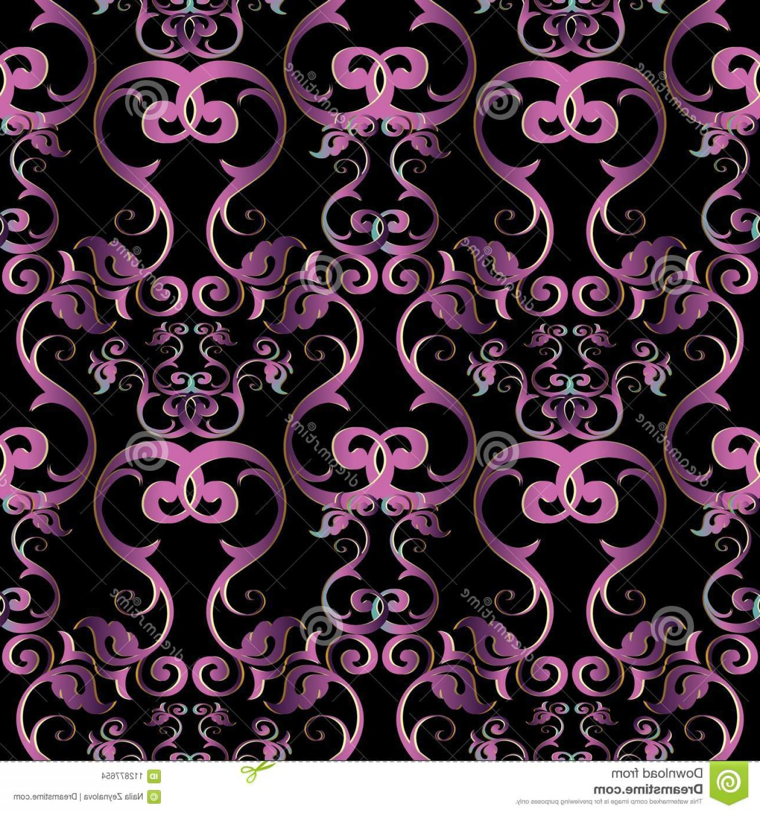 Violet Swirl Design Vector: Vintage Floral Damask Seamless Pattern Vector Black Background Violet Swirl Flowers Leaves Line Art Tracery Antique Ornaments Image