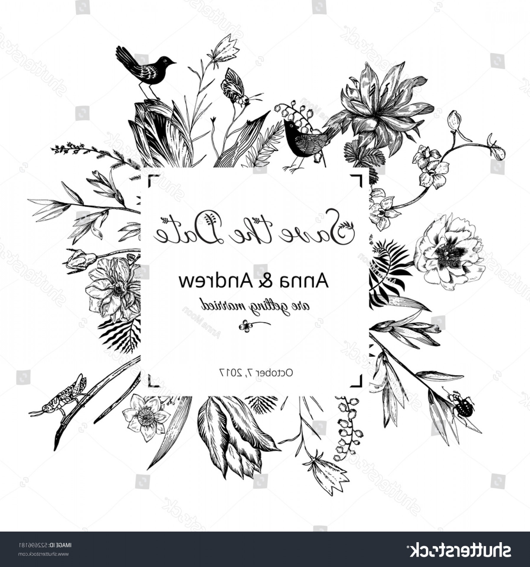 Floral Vector Calligraphy: Vintage Floral Wedding Invitation Calligraphy Text