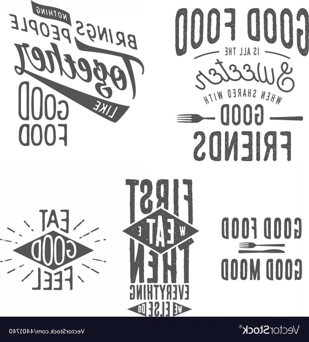 Vector Quotes: Vintage Food Related Typographic Quotes Vector