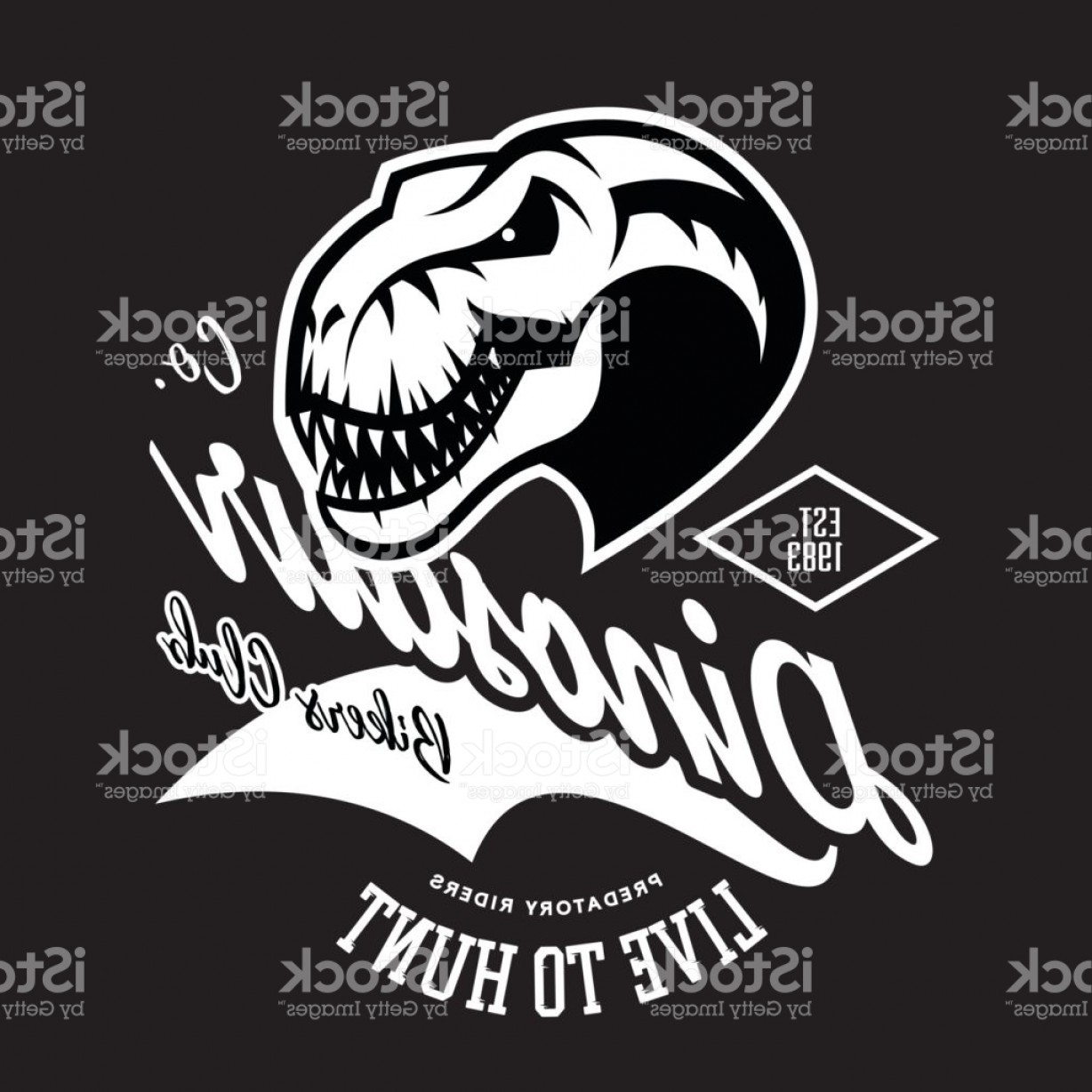 Gang Vector Graphics: Vintage Furious Dinosaur Bikers Gang Club Tee Print Vector Design Gm