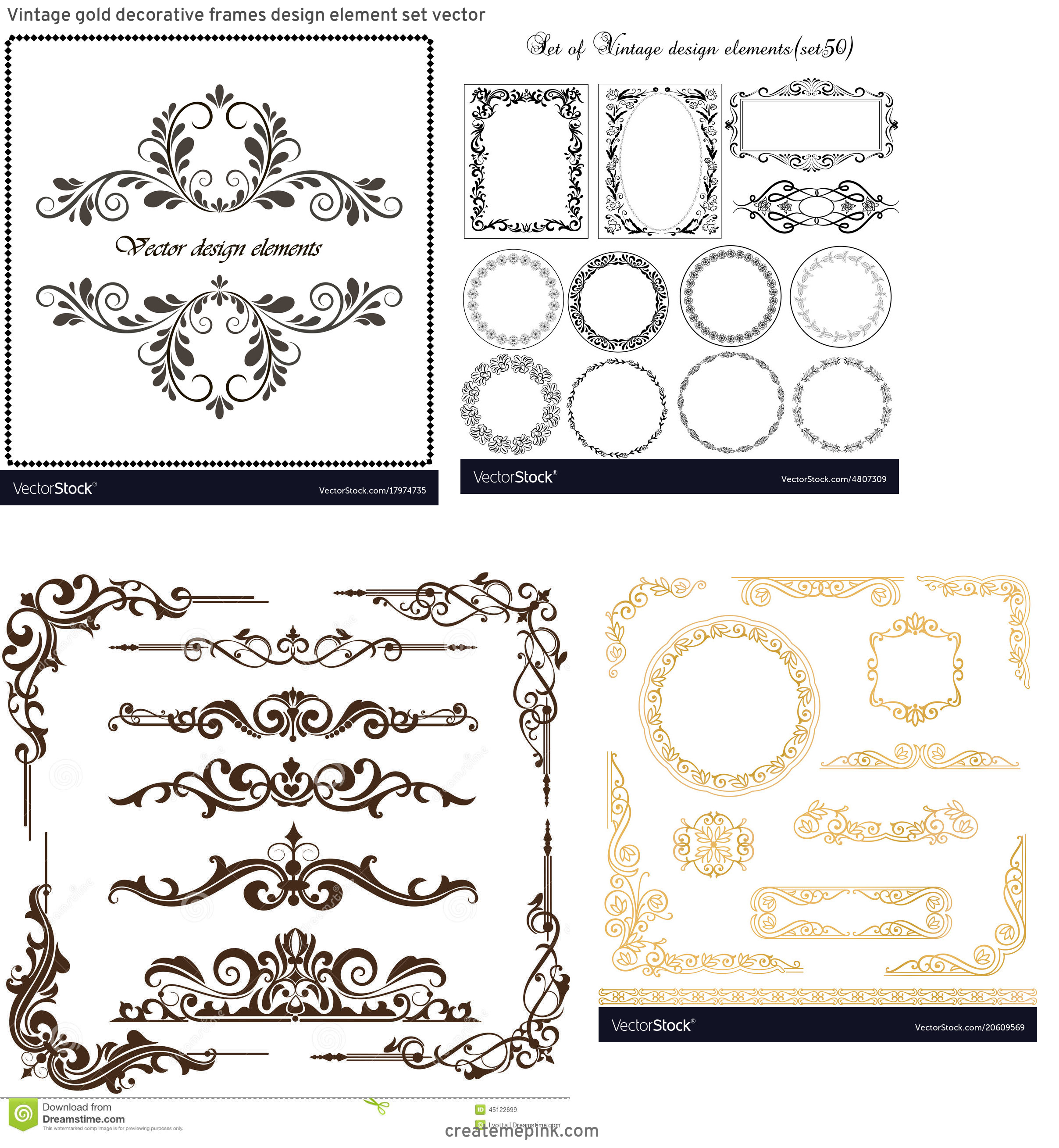 Elements Of Vector Vintage Decorative Frame: Vintage Gold Decorative Frames Design Element Set Vector