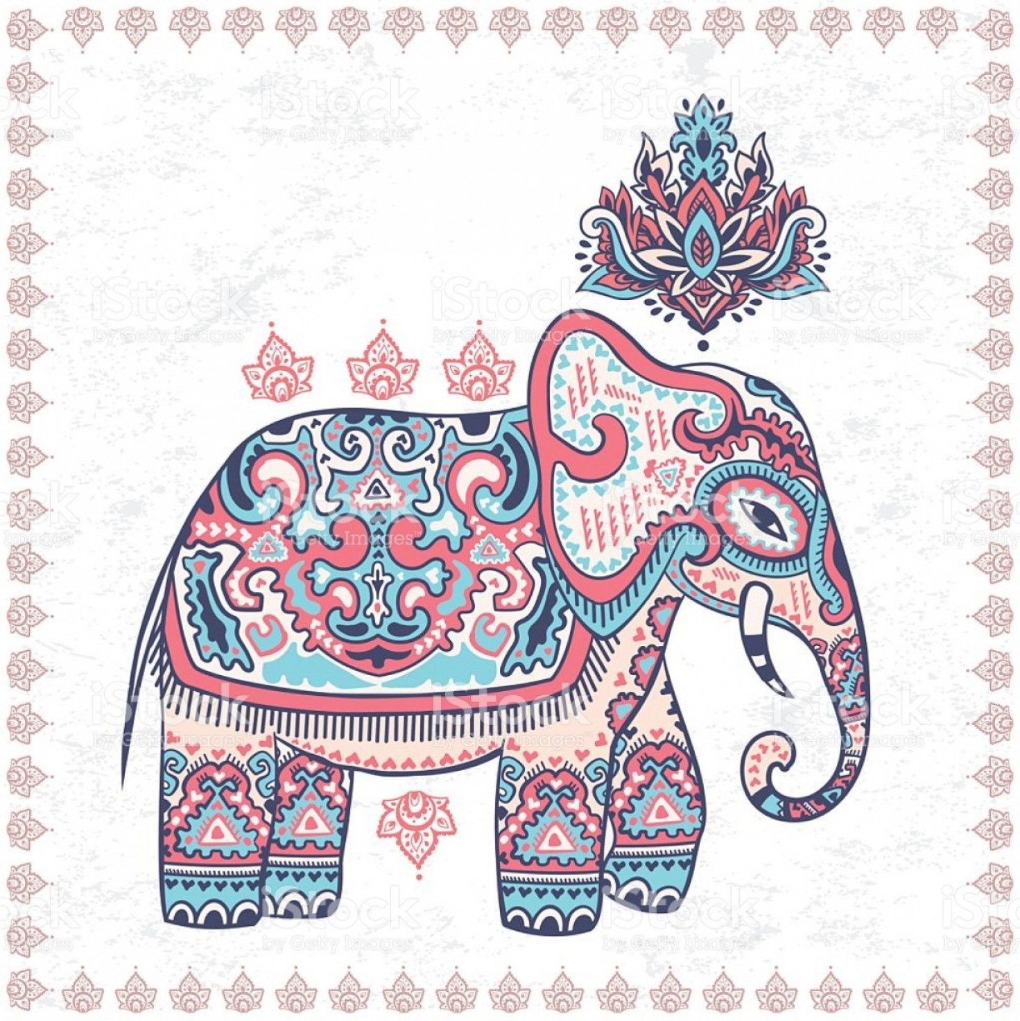 Vector Art Indian Lotus: Vintage Graphic Vector Indian Lotus Ethnic Elephant Seamless Pat Gm