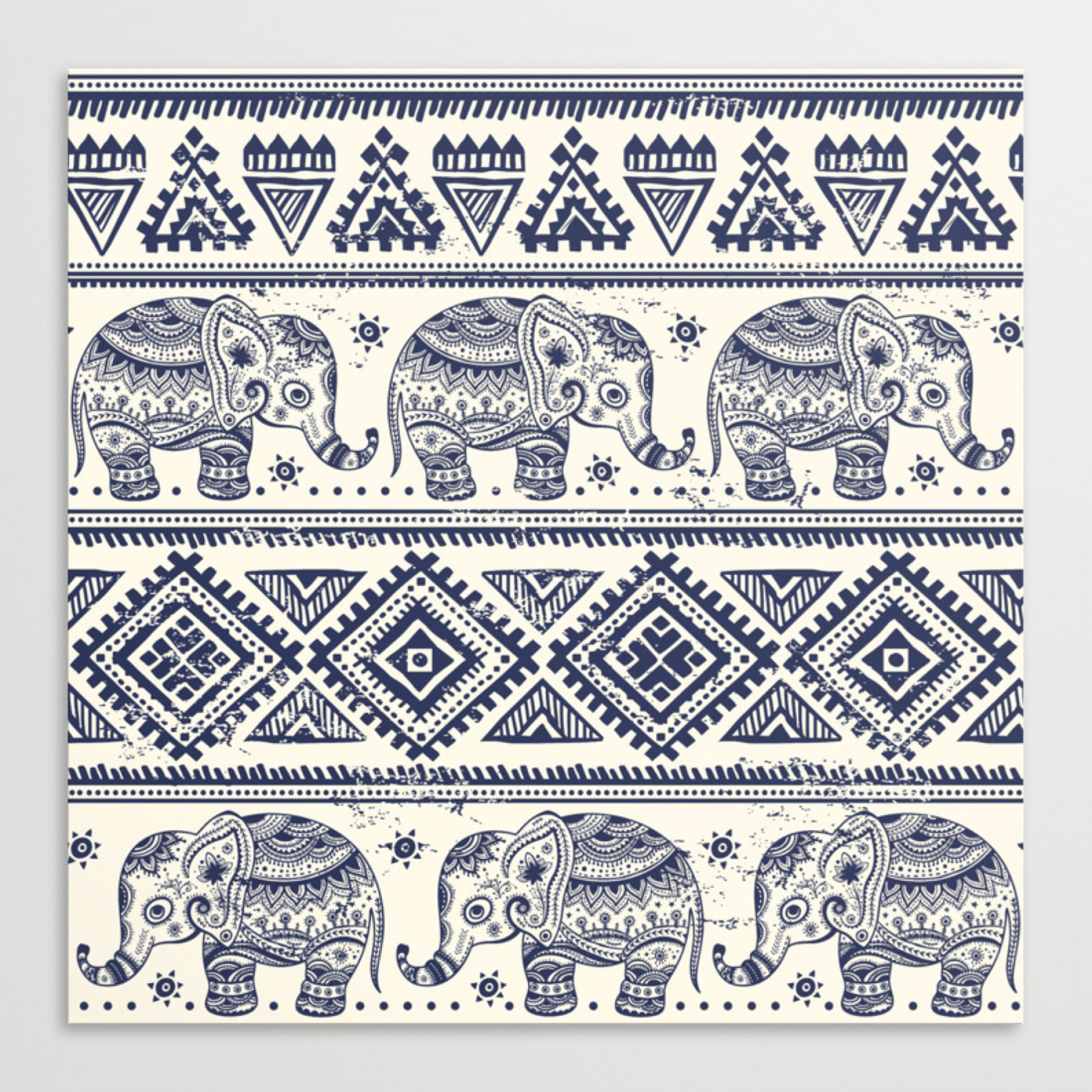 Vector Art Indian Lotus: Vintage Graphic Vector Indian Lotus Ethnic Elephantstretched Canvas