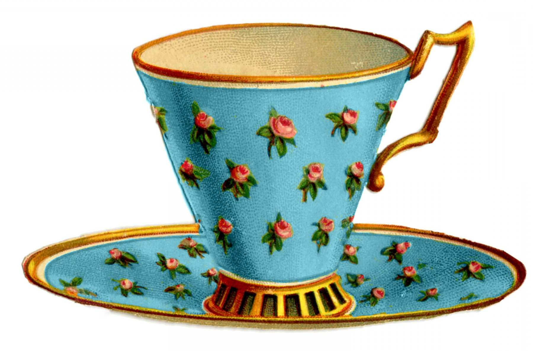 Vintage Tea Cup Vector: Vintage Graphics Pretty Teacups With Roses