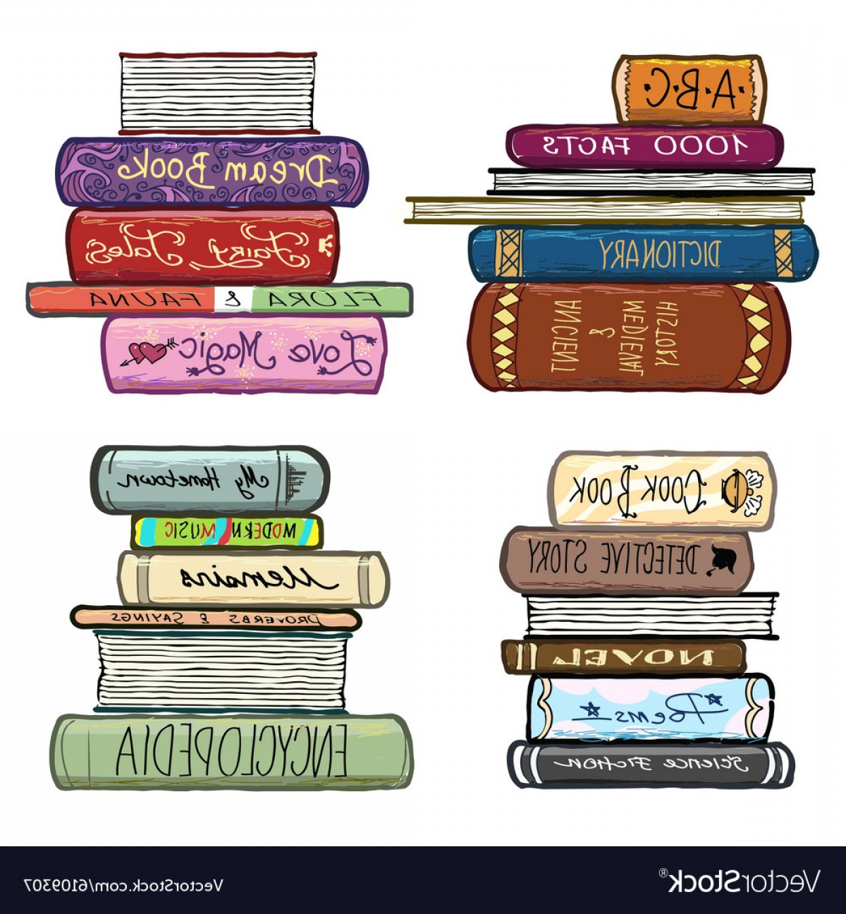 Vector ABC History: Vintage Hand Drawn Books Library Set Vector