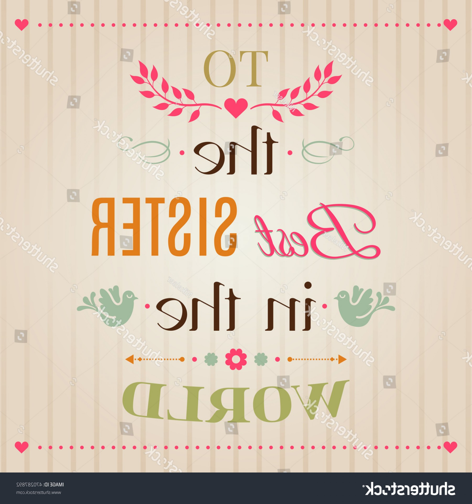 Sisters Lettering Vector: Vintage Happy Birthday Typographical Greeting Card