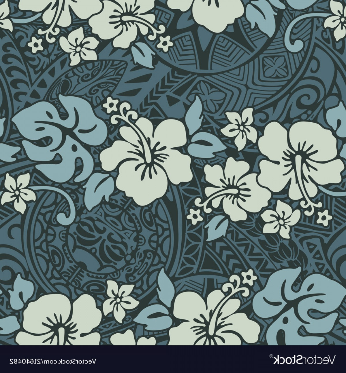 Hawaii State Flower Vector Art: Vintage Hibiscus Flowers With Tribal Background Vector