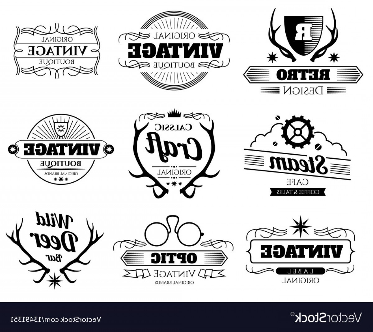 Hipster Logo Vectors Mountain: Vintage Hipster Logos And Labels Set With Vector