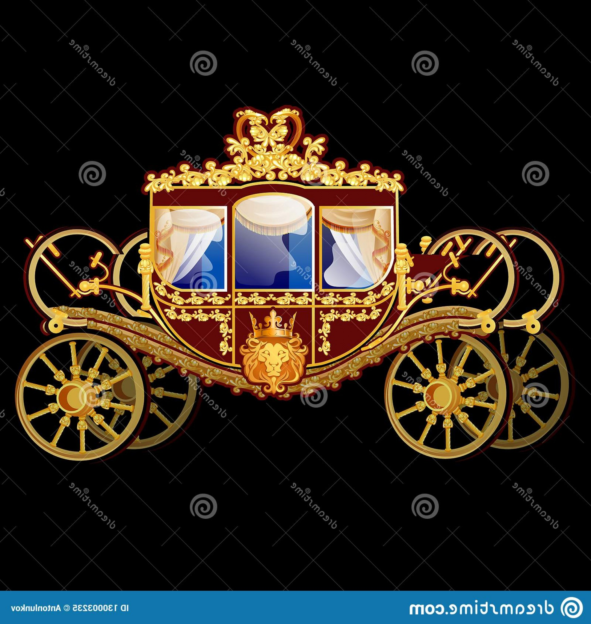 Coach Gold Logo Vector: Vintage Horse Carriage Golden Florid Ornament Isolated Black Background Vector Illustration Image