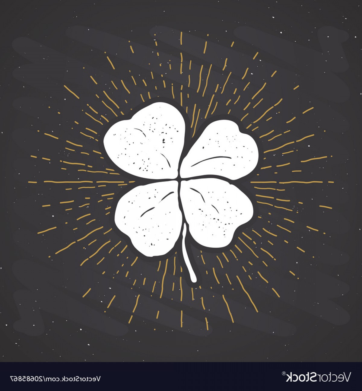 Four Leaf Clover Vector Art Black And White: Vintage Label Hand Drawn Lucky Four Leaf Clover Vector