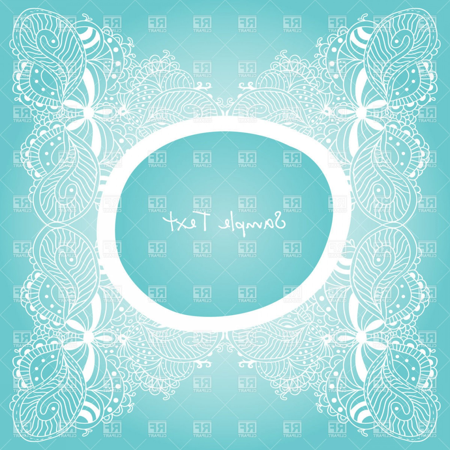 Blue Vector Border Frame: Vintage Lace And Round Frame On Blue Vector Clipart