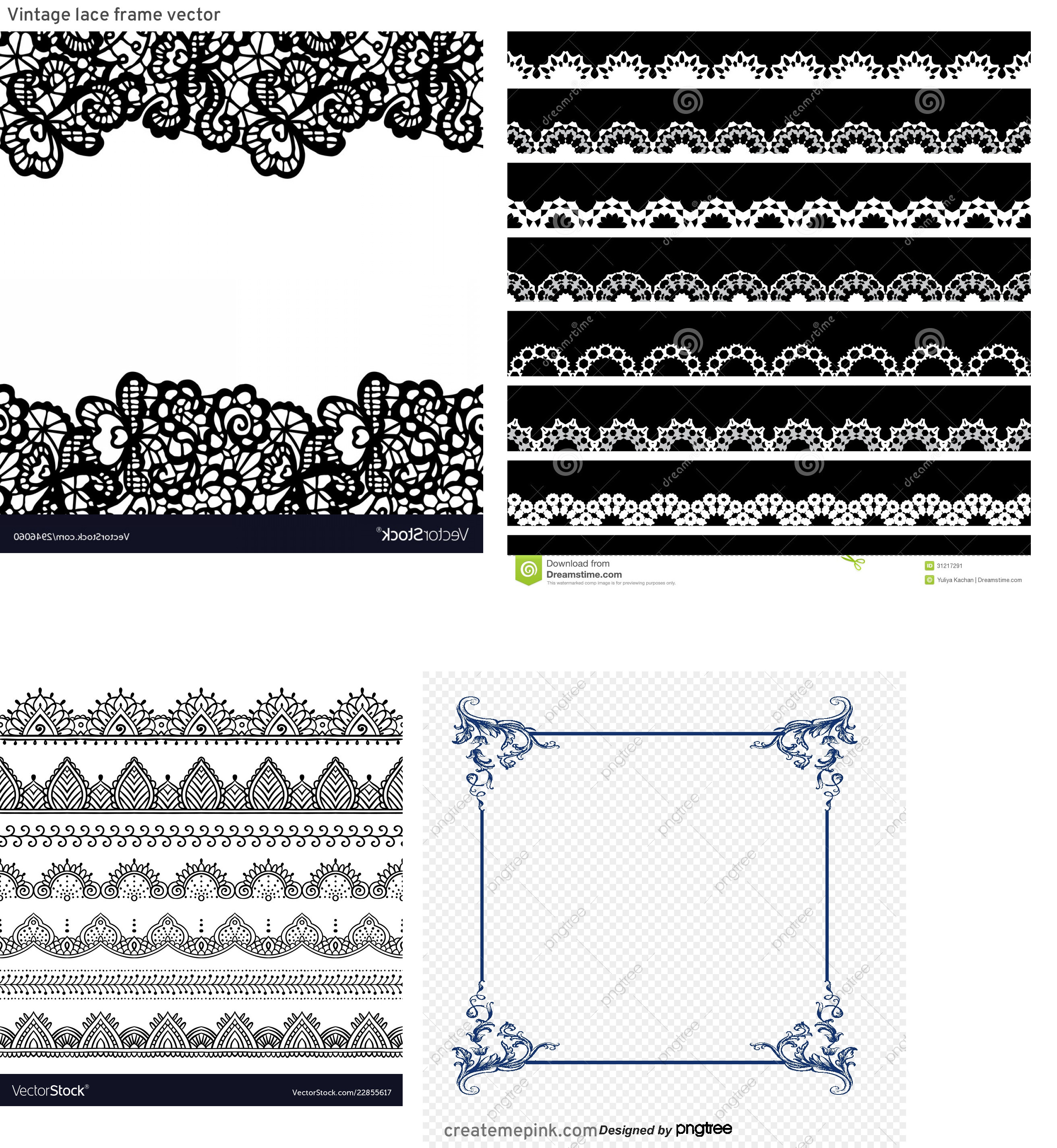 Simple Lace Frame Vector: Vintage Lace Frame Vector
