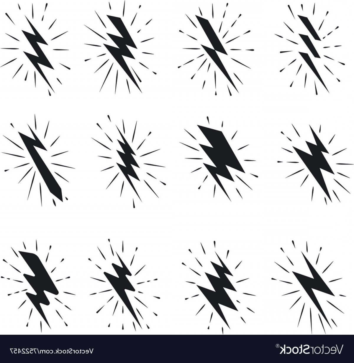 Vector Lightning Bolt Tribe: Vintage Lightning Bolt Icons Vector