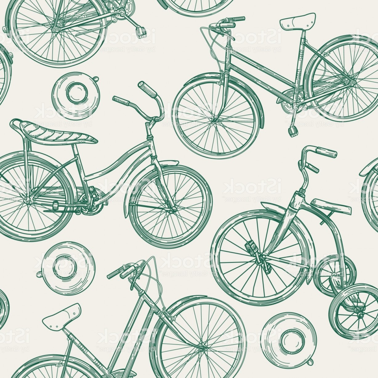 Bicycle Crank Vector Of Artwork: Vintage Line Art Bikes And Bells Seamless Pattern Gm