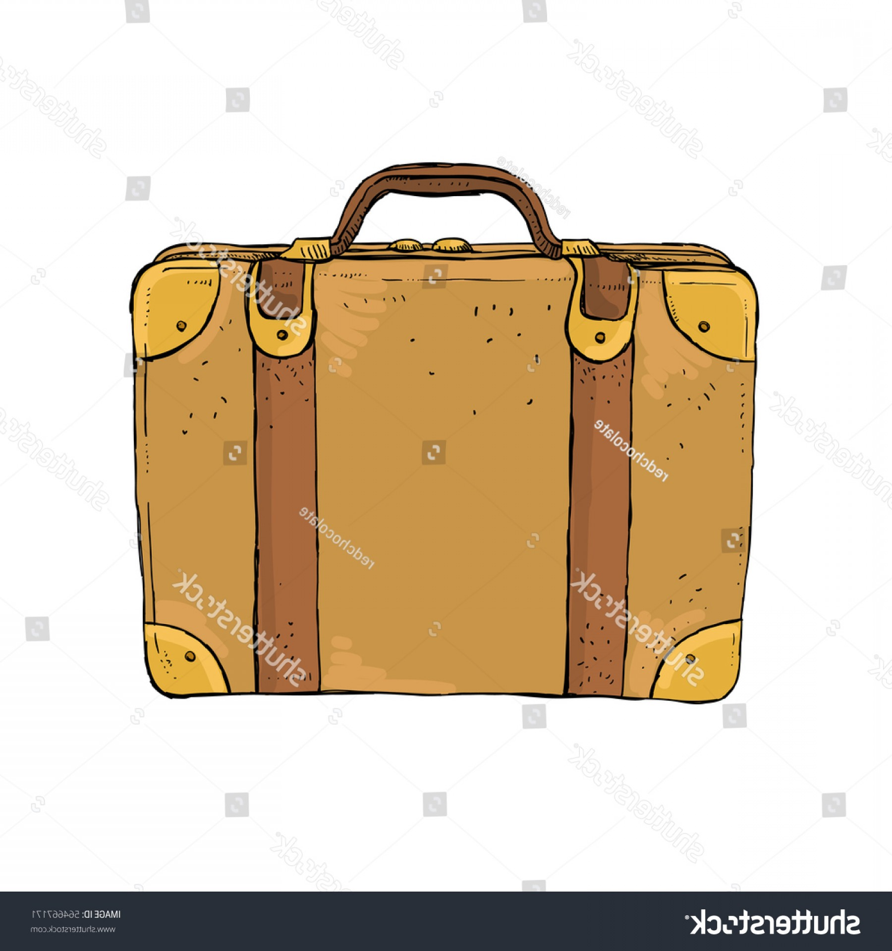 Vintage Luggage Vector: Vintage Luggage Suitcase Sketch Illustration Retro