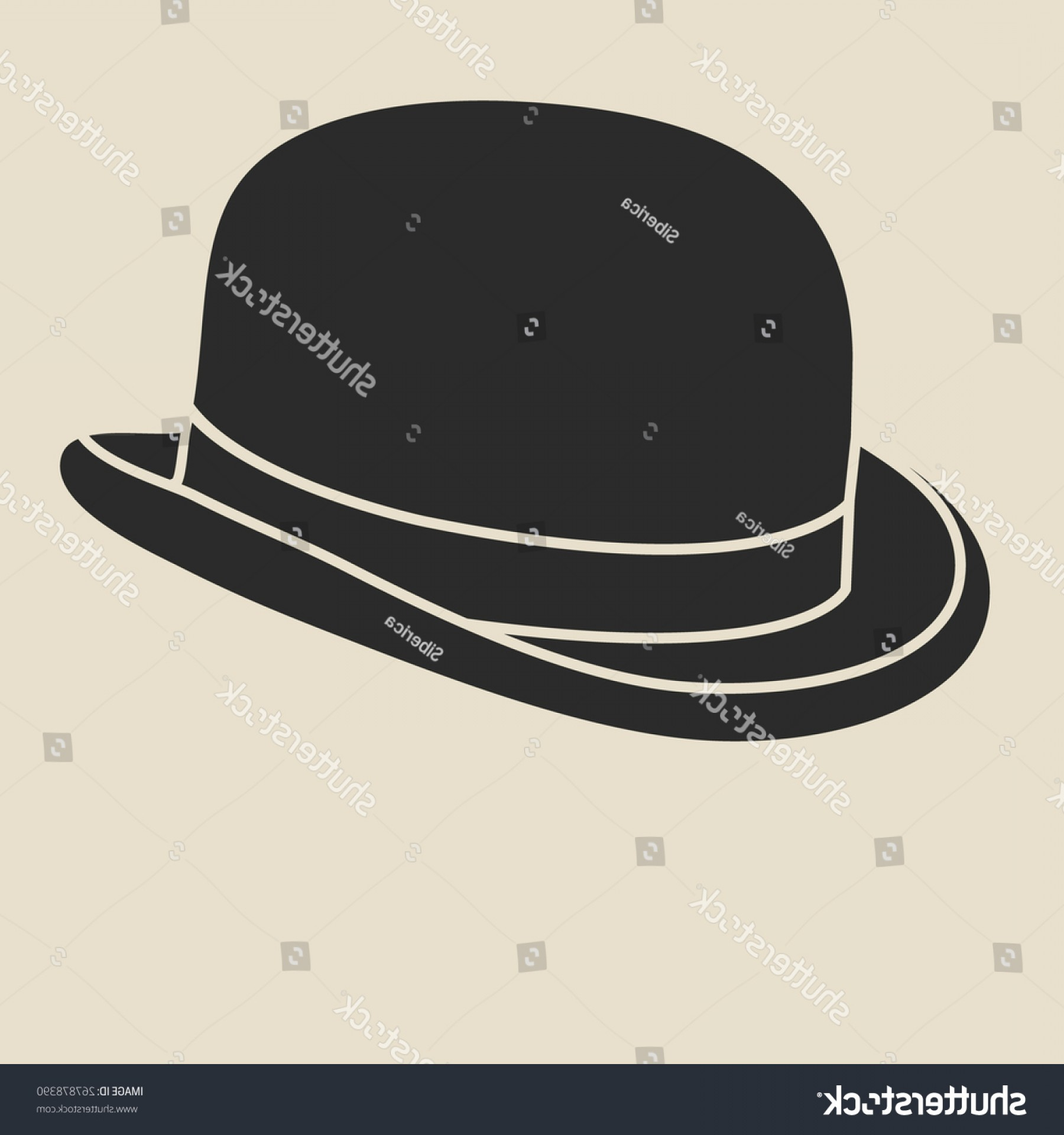 Bowler Hat Vector: Vintage Mans Bowler Hat Label Design