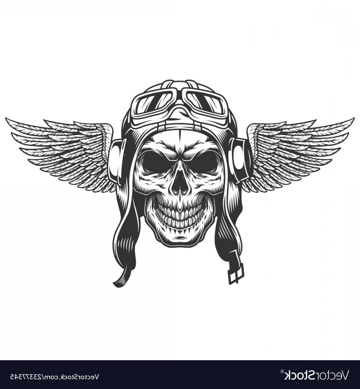 Flying Skull Vector: Vintage Monochrome Winged Pilot Skull Vector